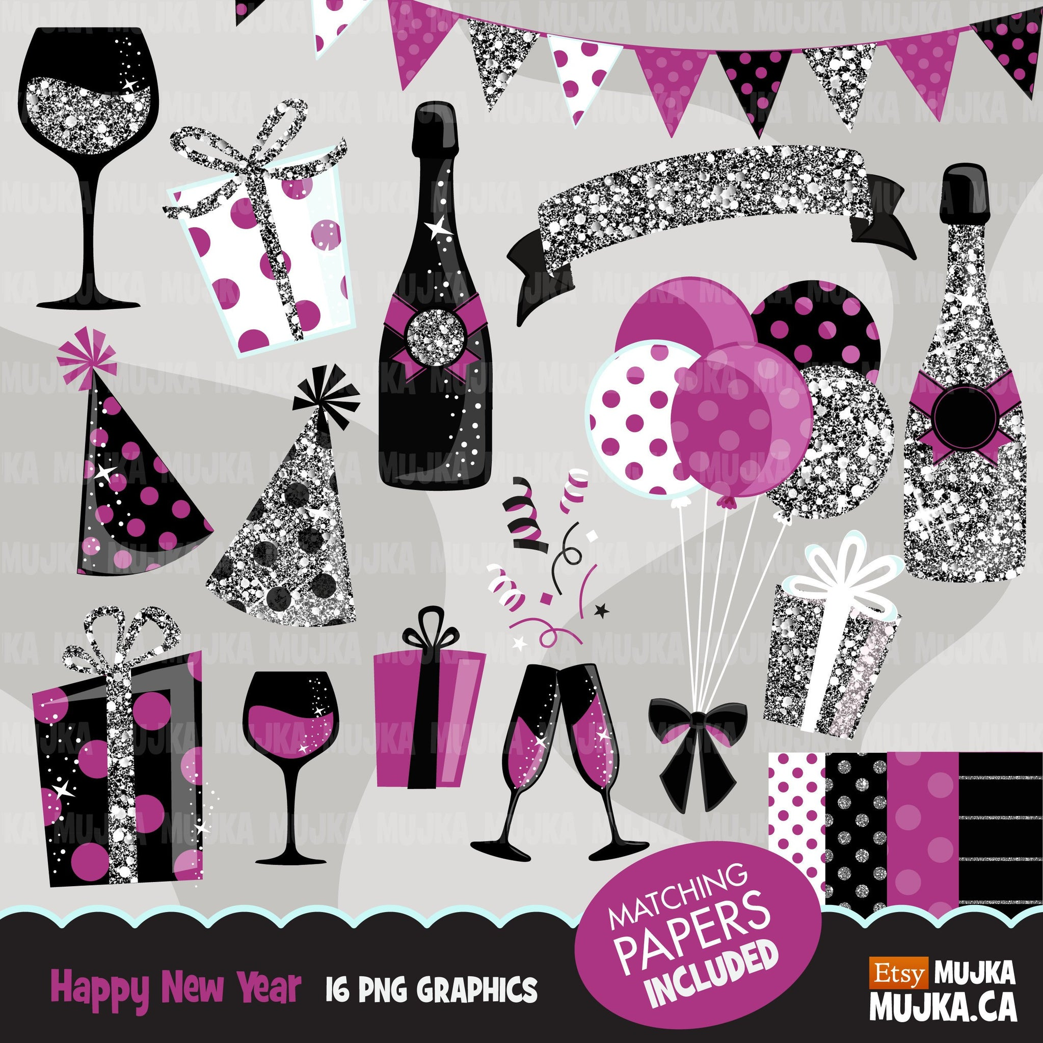 Happy New Year Celebration Clipart Silver Glitter