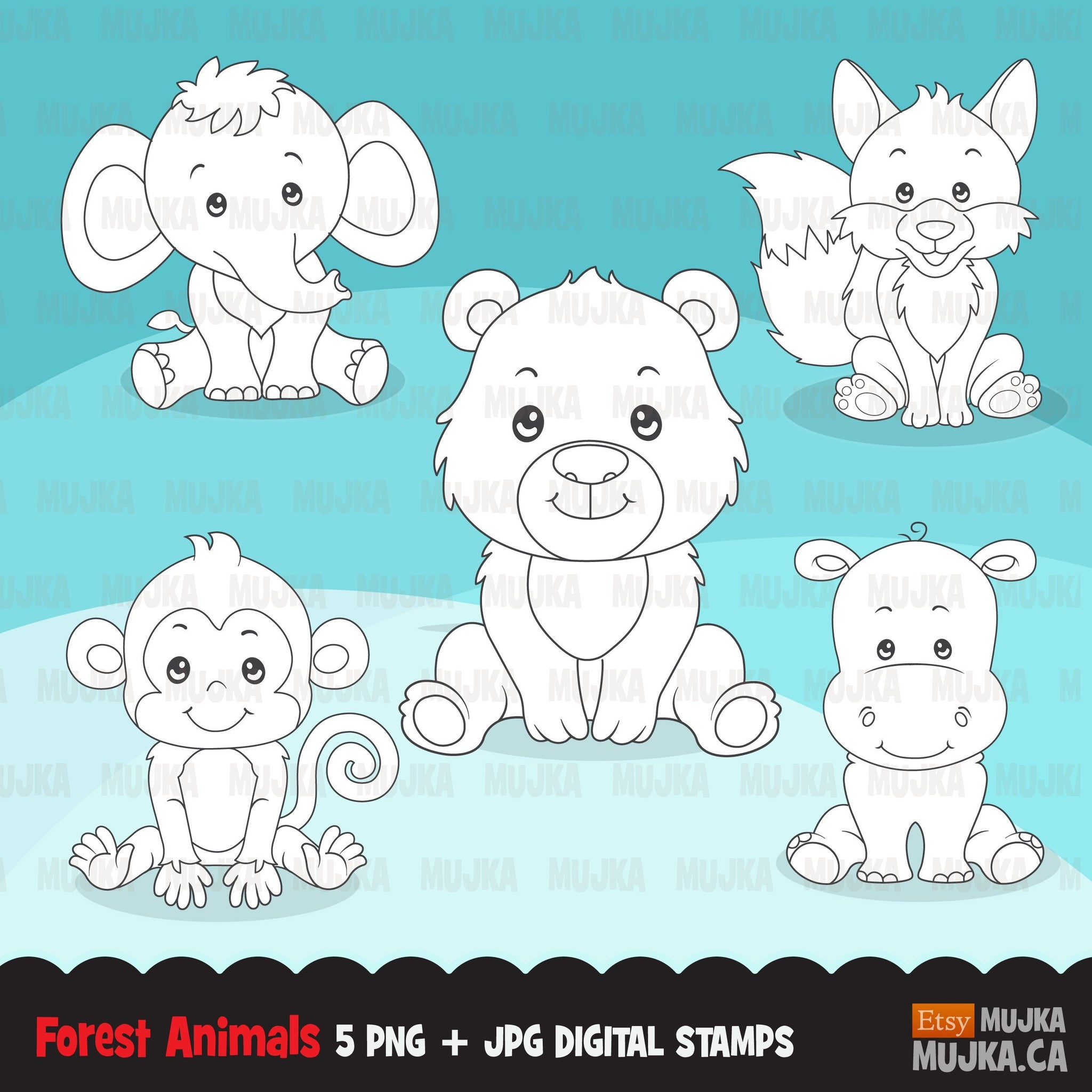 Forest Animal digital stamps