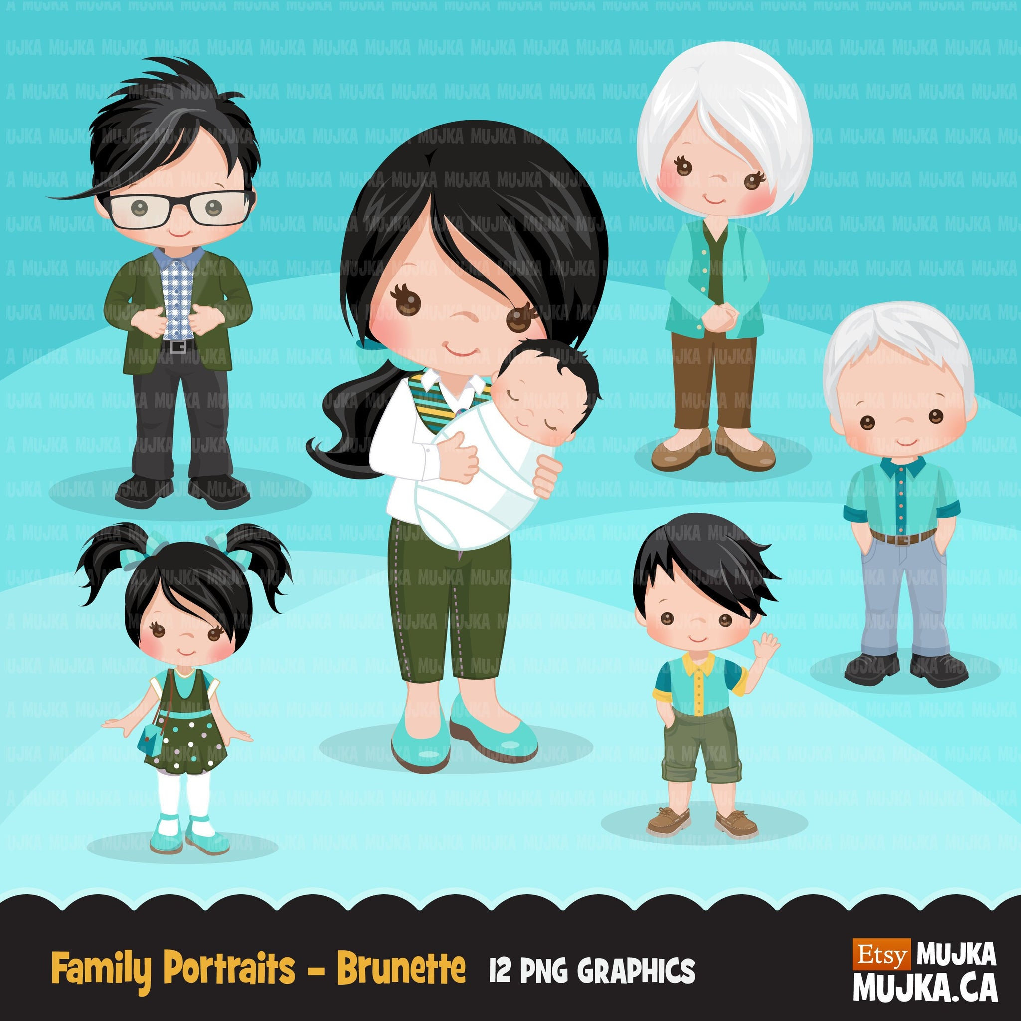 Family portraits clipart