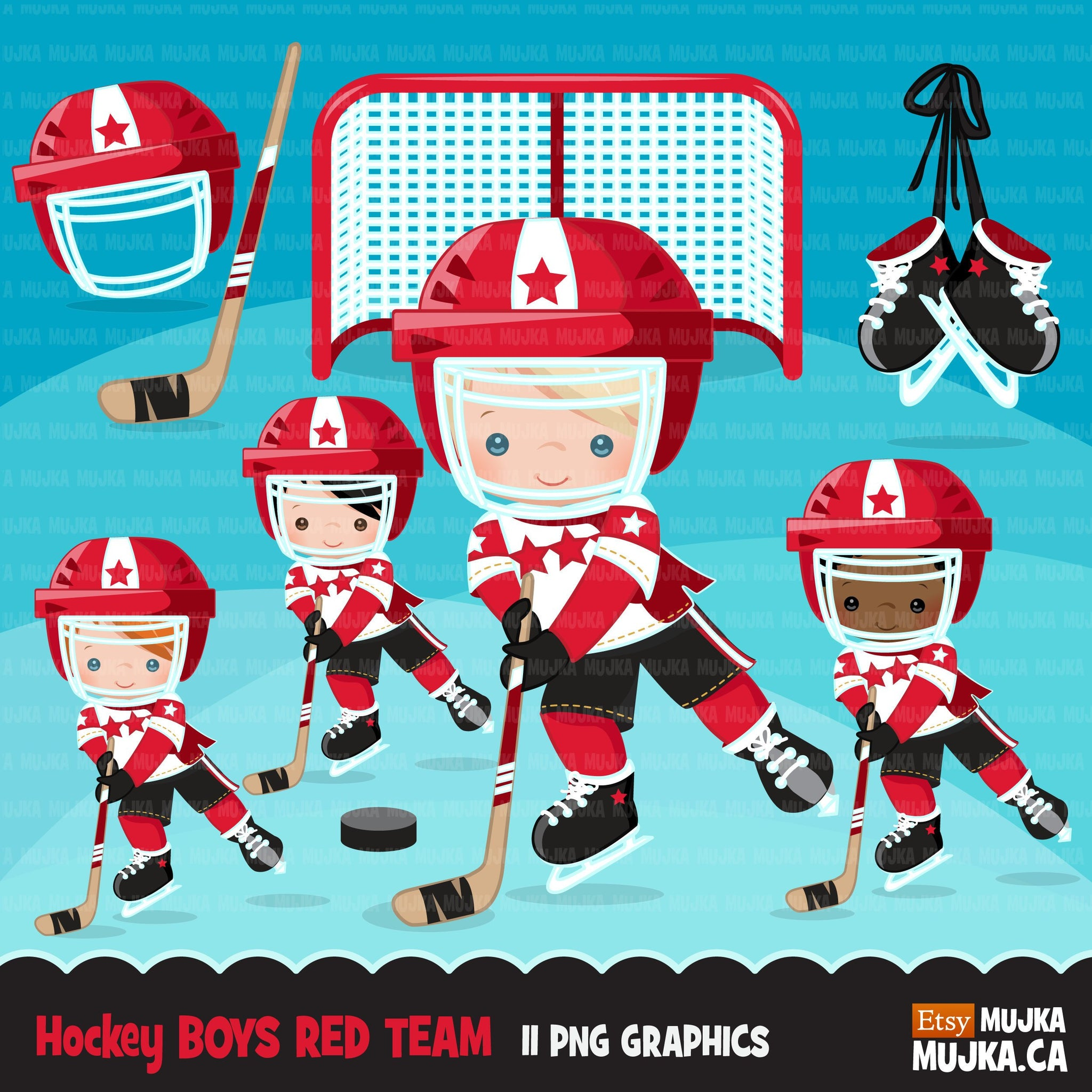 Hockey clipart, Boy in red jersey