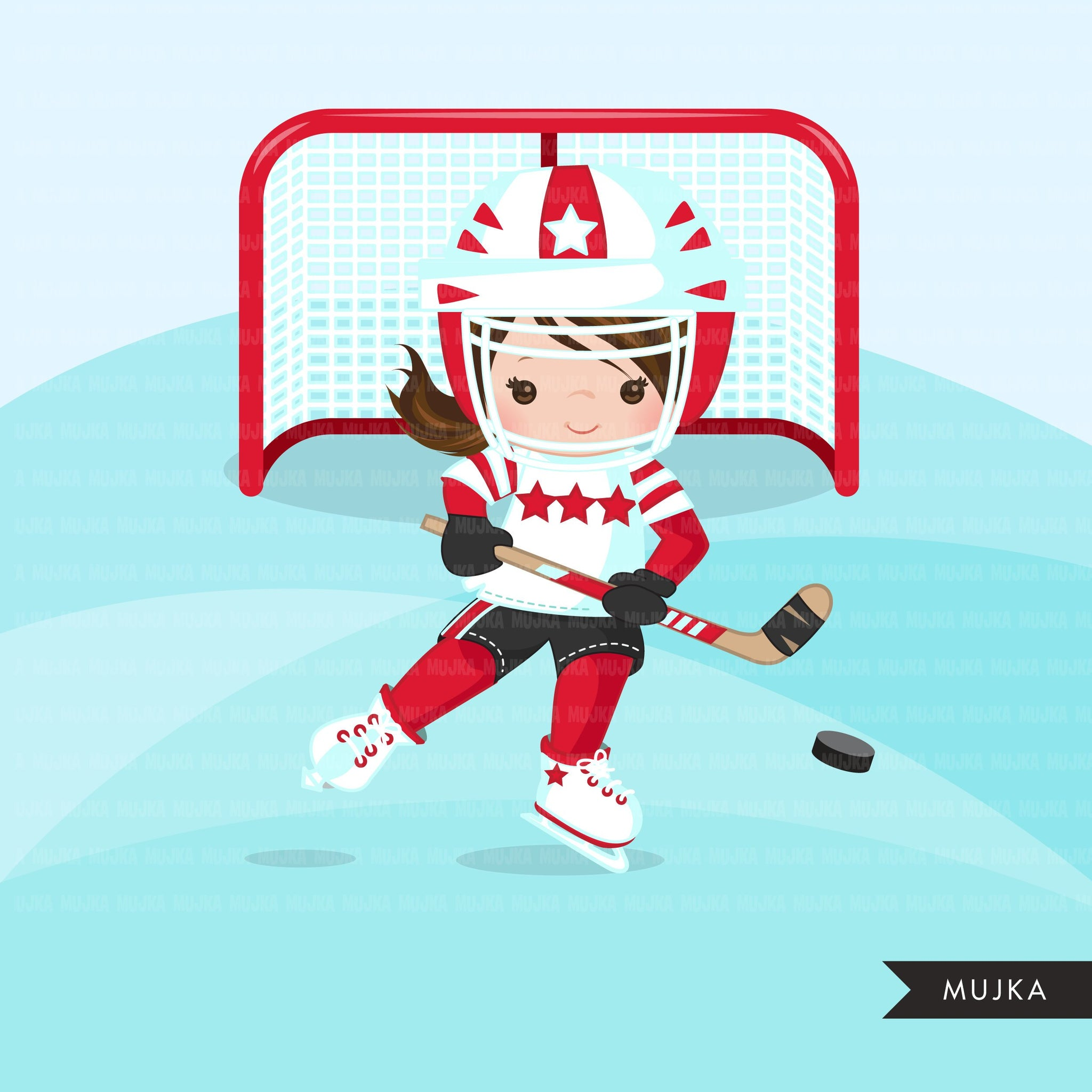 Hockey clipart, Girl in red jersey