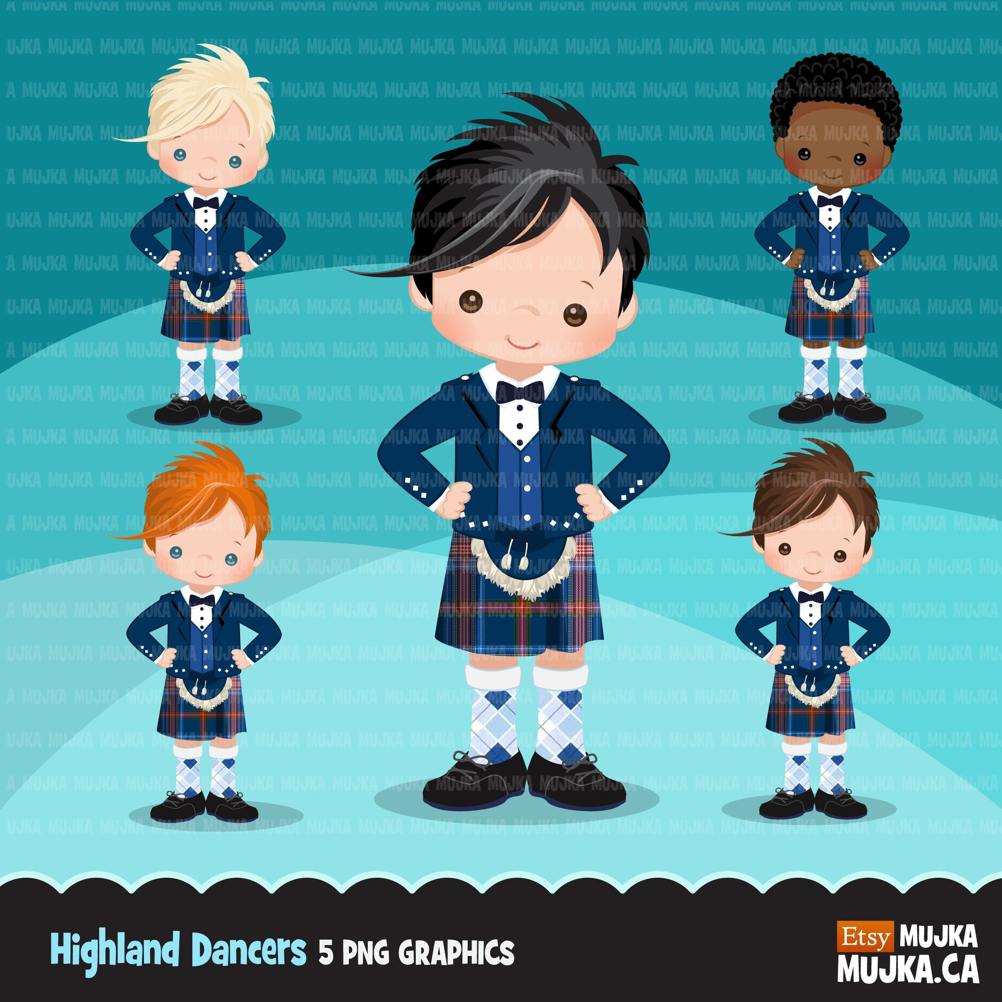 Highland dancers, boy dancers clipart