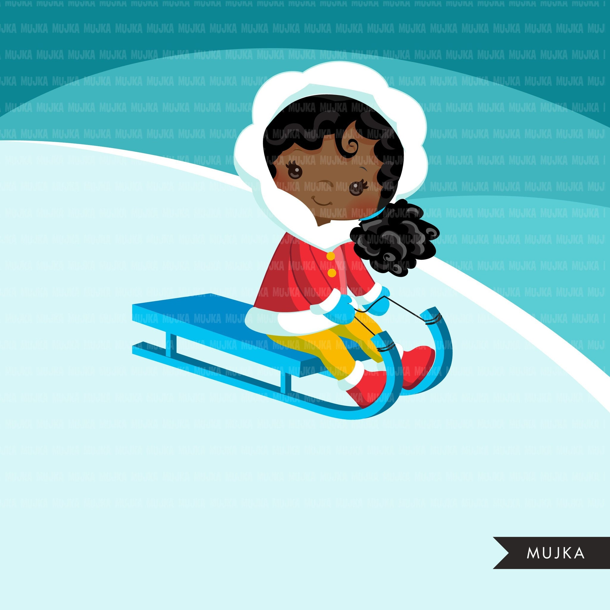 Winter sled snow girls clipart