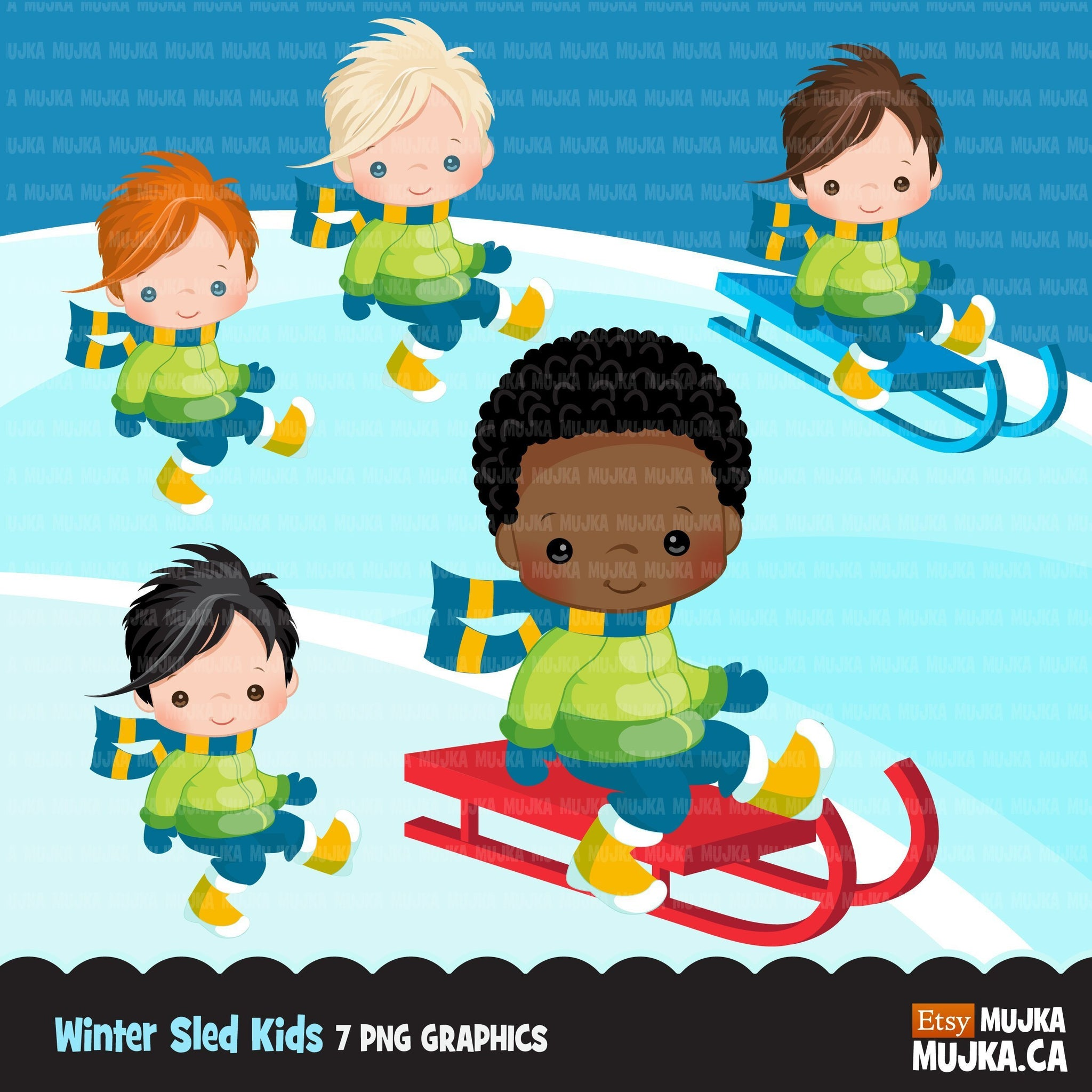 Winter sled snow boys clipart