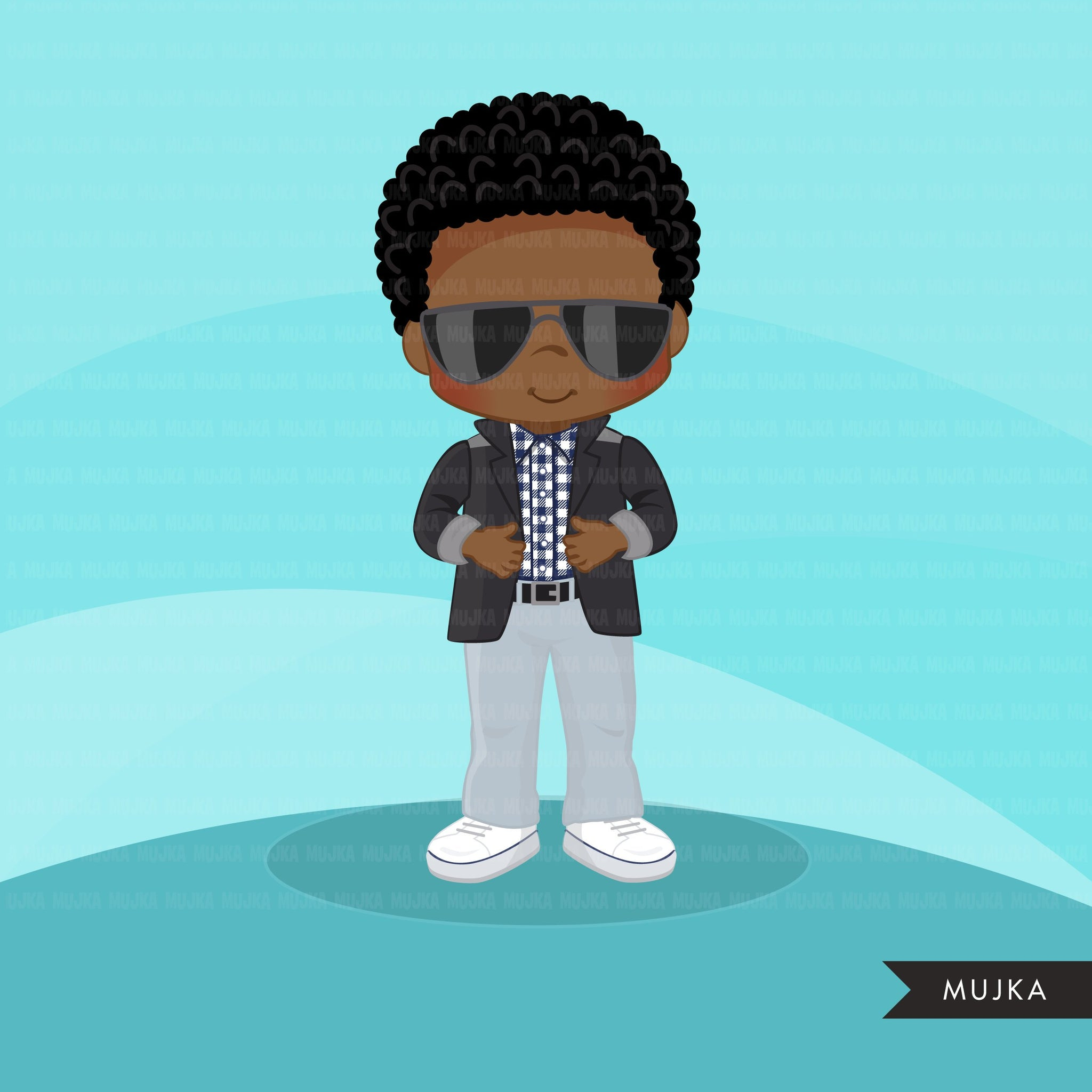 Little boy cute outfits clipart. Boys with jacket and sun glasses
