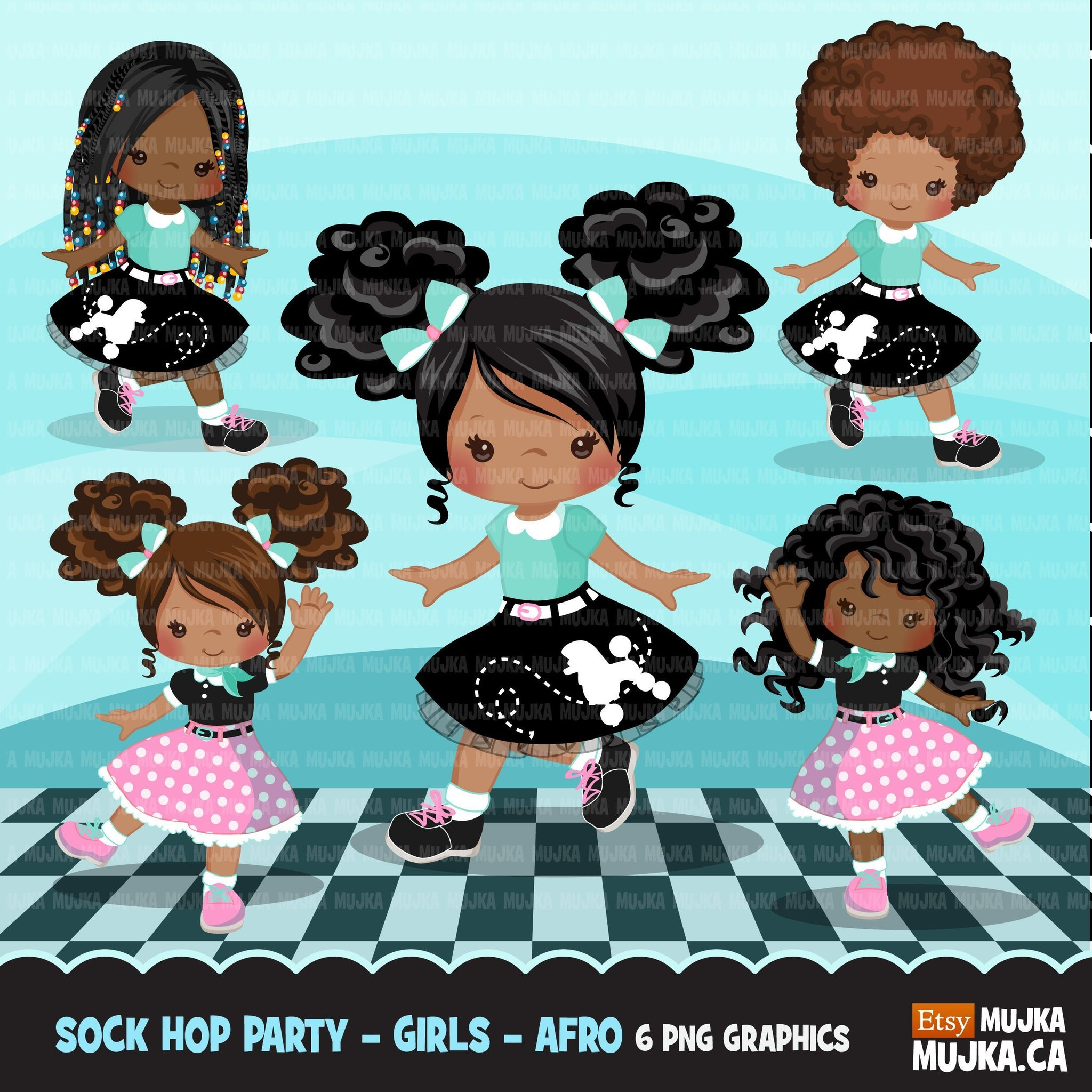 Sock Hop Party with black girl Clipart