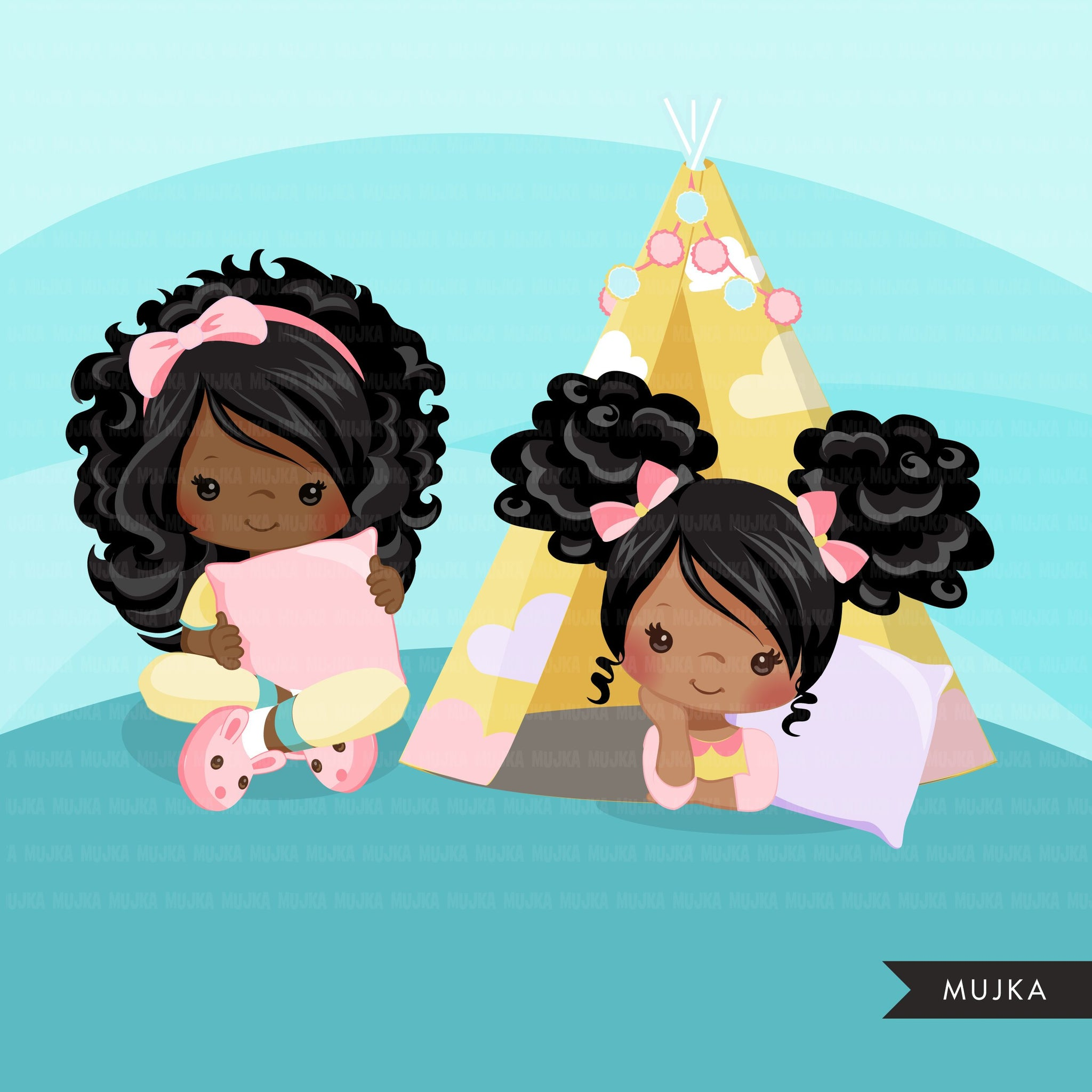Slumber party with black girl clipart