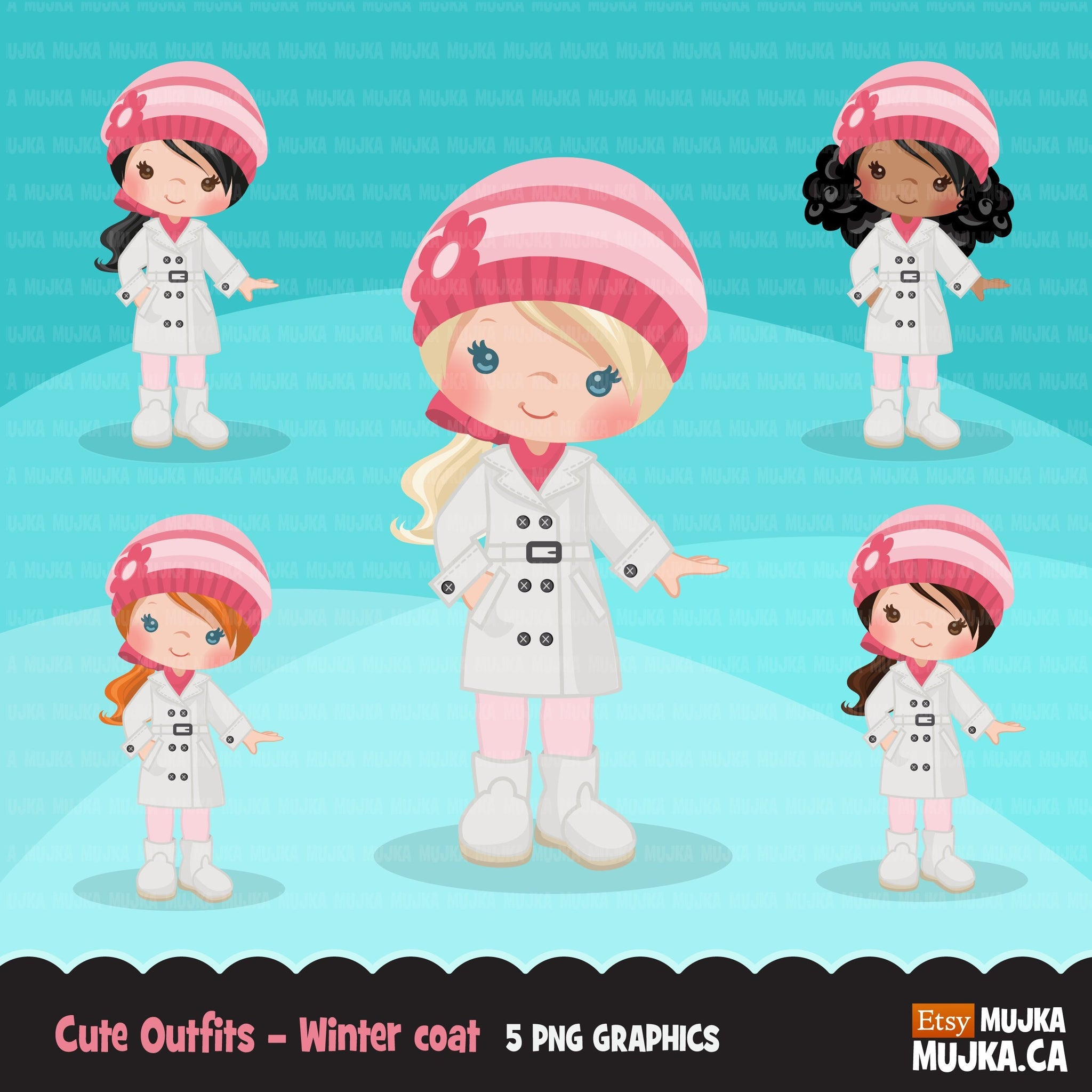 Little girl cute outfits clipart. Girls with winter jacket
