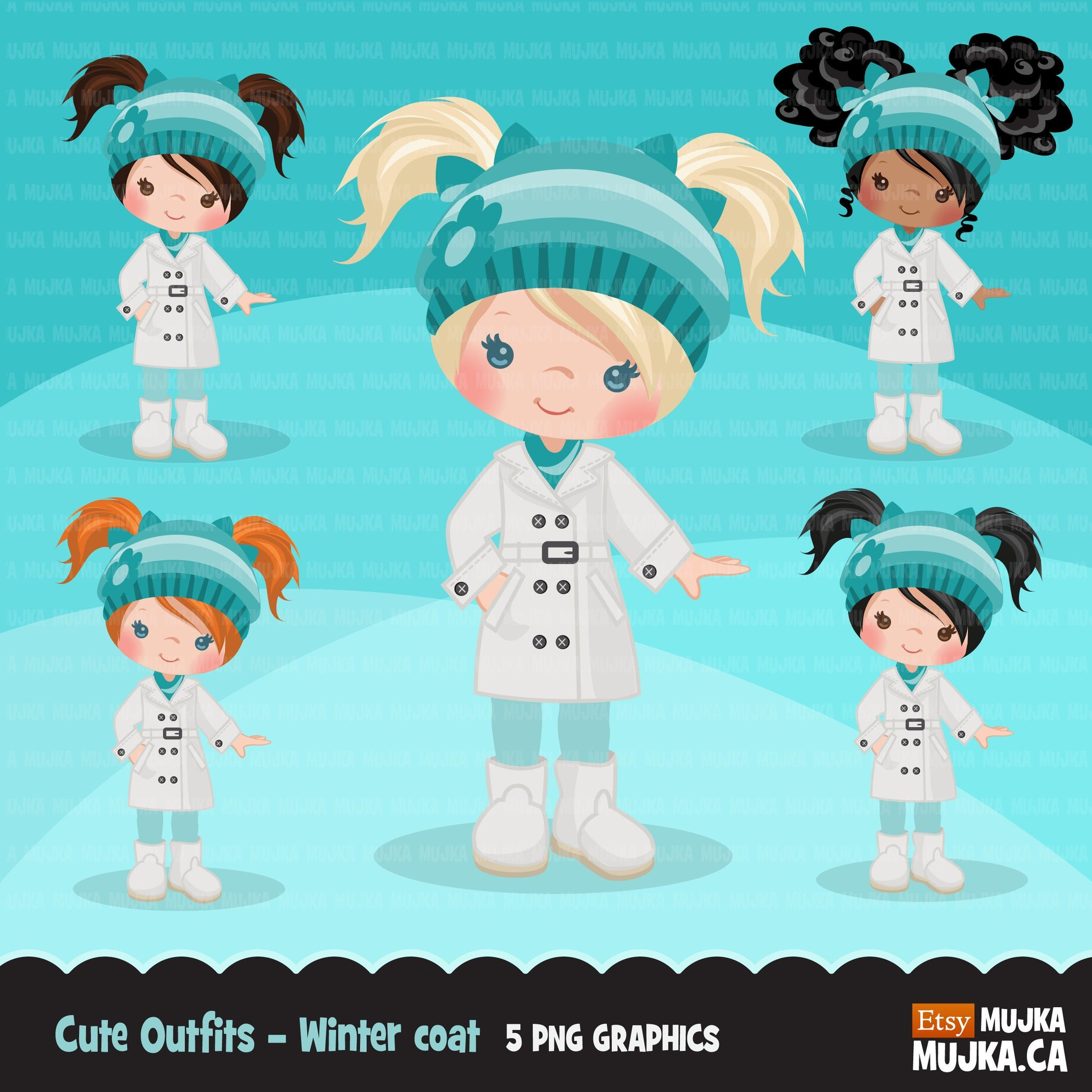 Little girl in winter clothes, cute outfits clipart, snow day, outdoors, winter coat graphics, black girl, afro puffs