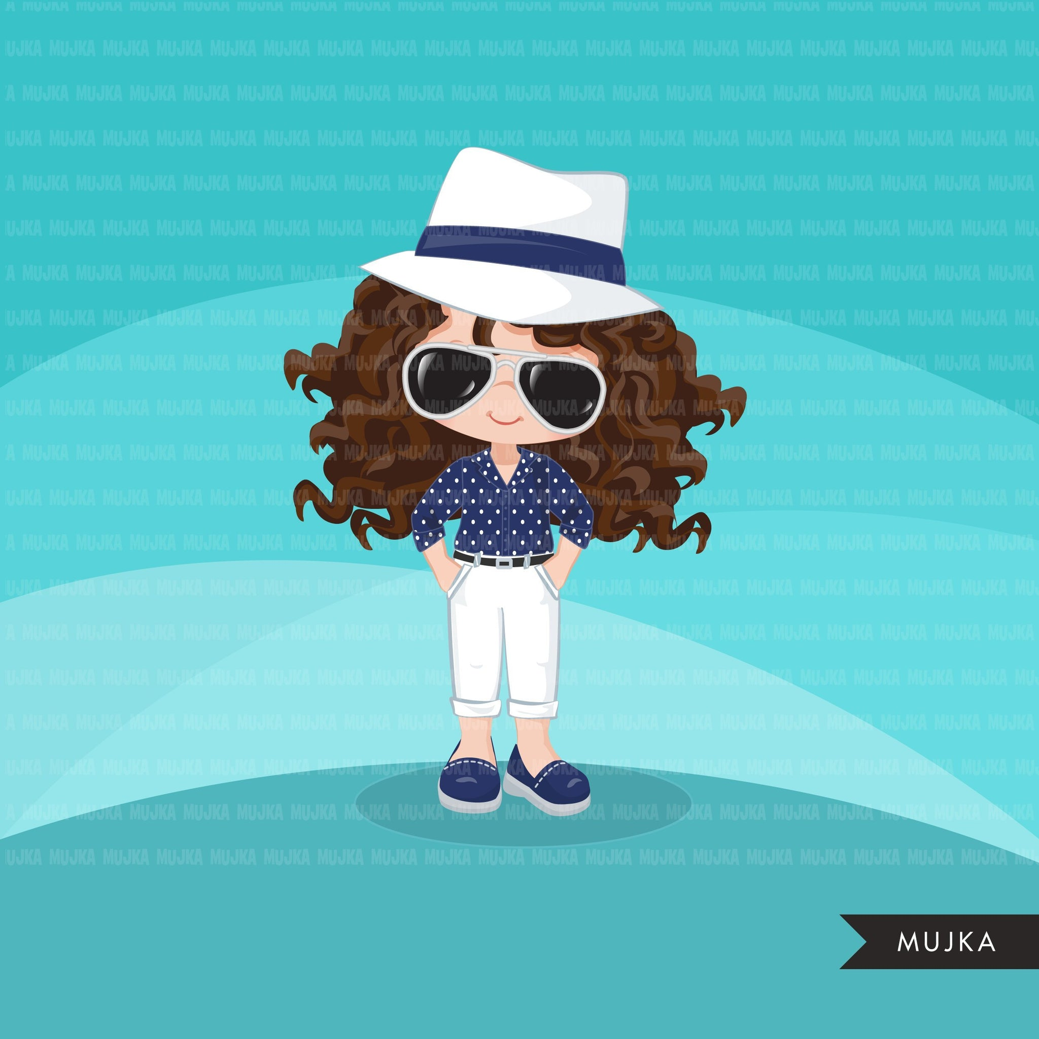 Little girl cute outfits clipart
