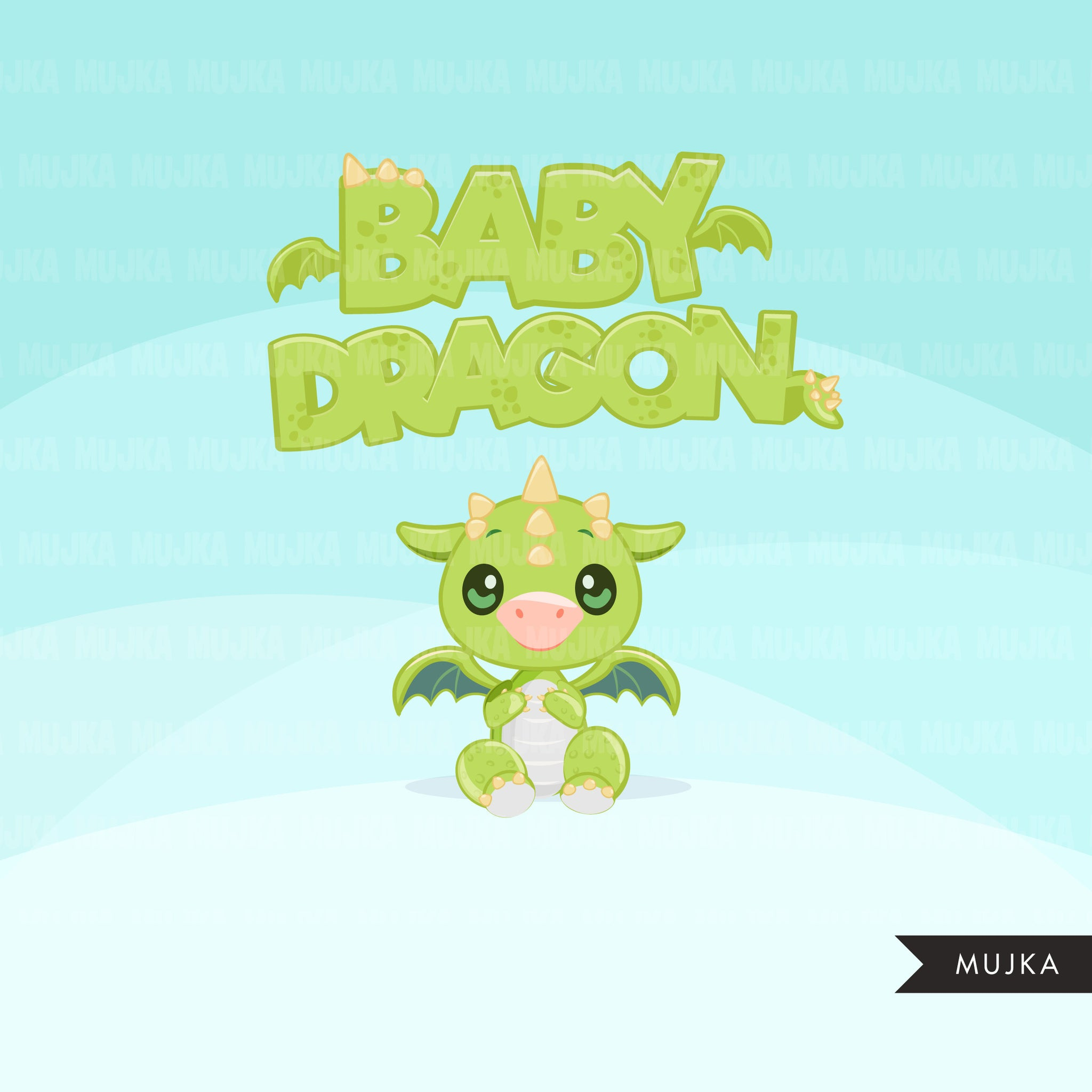 Baby Dragon clipart, green animal