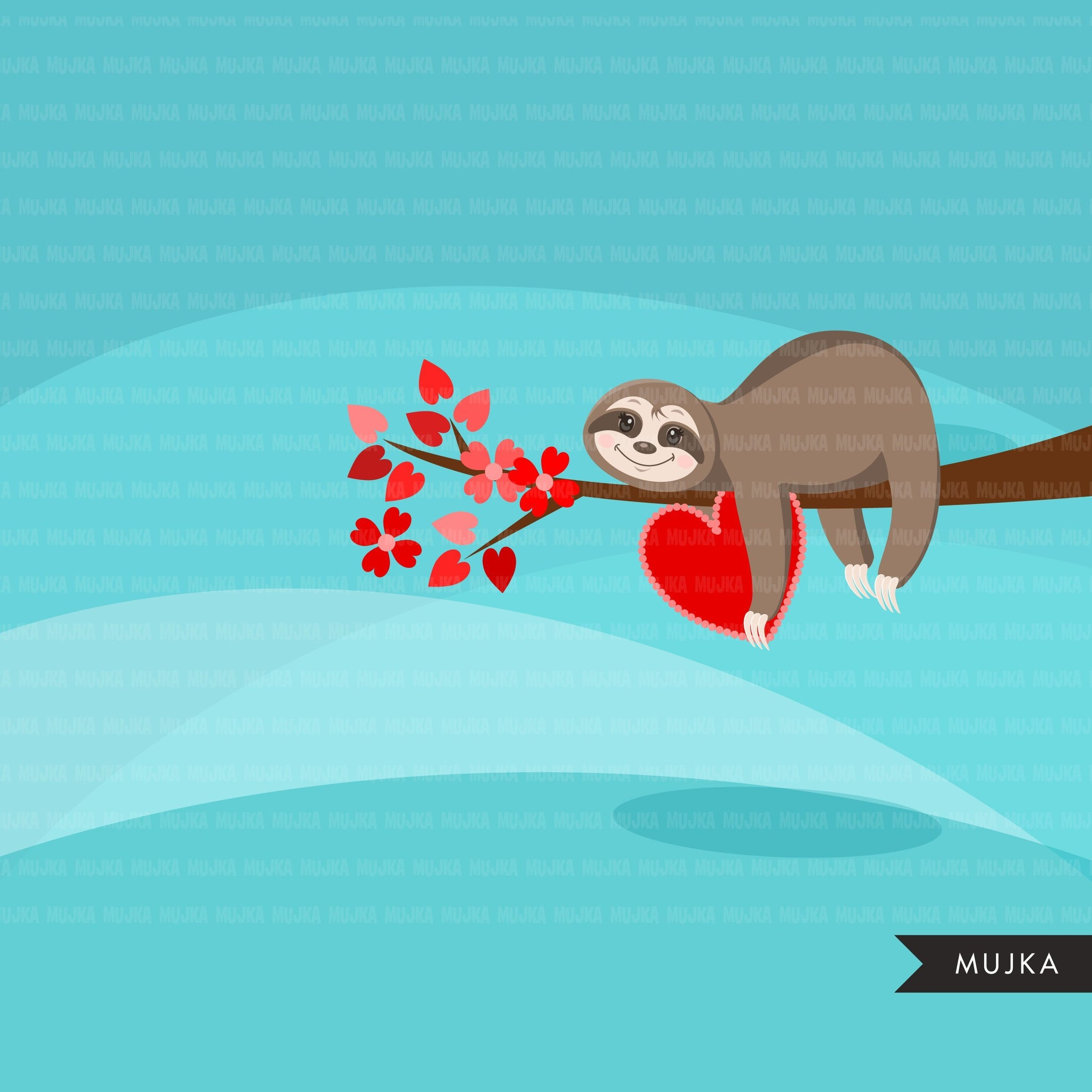 Valentine's Day Sloth Animal clipart