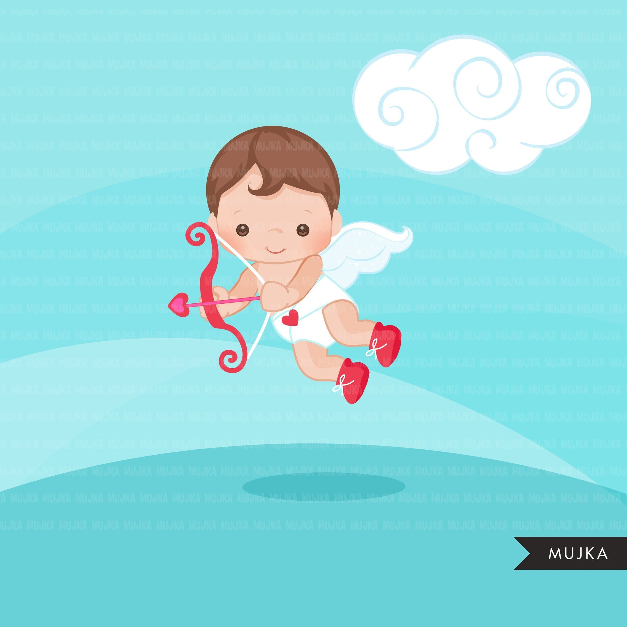 Valentine's Day Cupids clipart with arrows