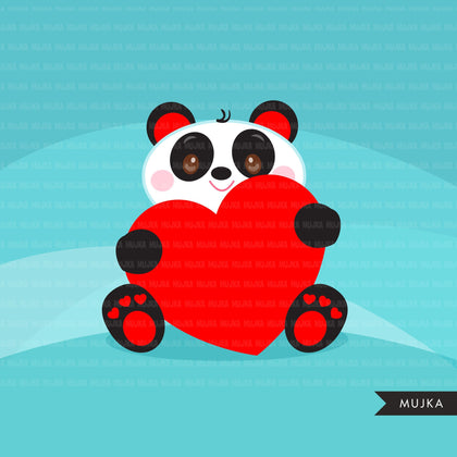 Valentine's Day Kawaii animals clipart