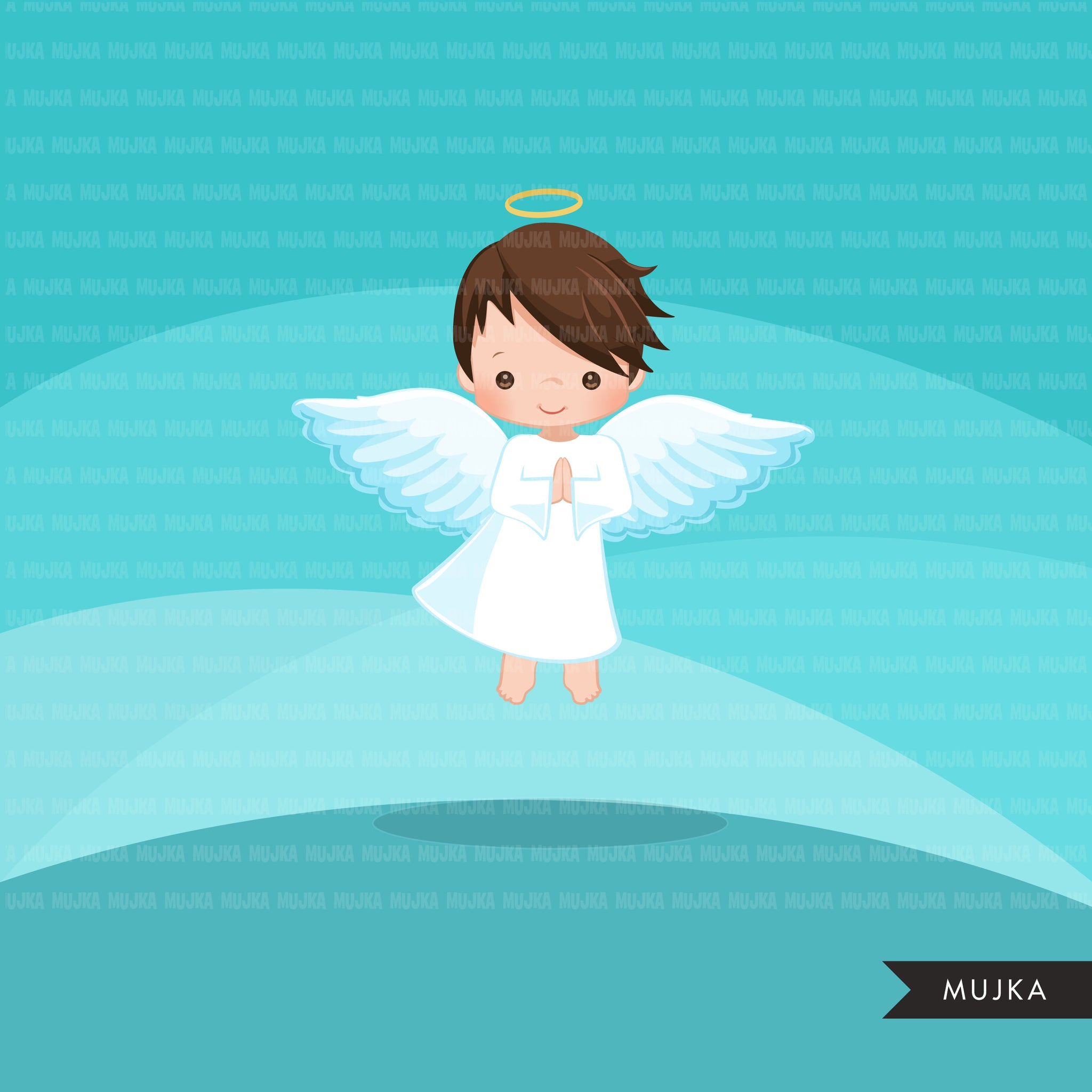 Nativity angel boy clipart. Cute angel with cross religious