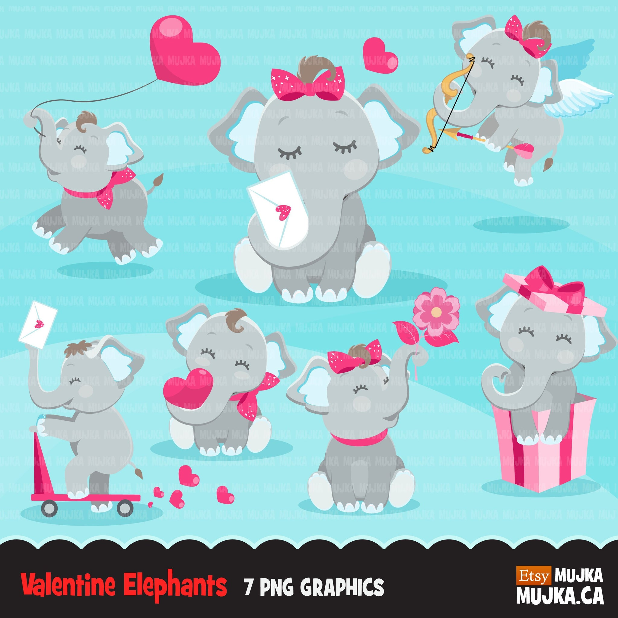 Valentines Day Elephants Clipart