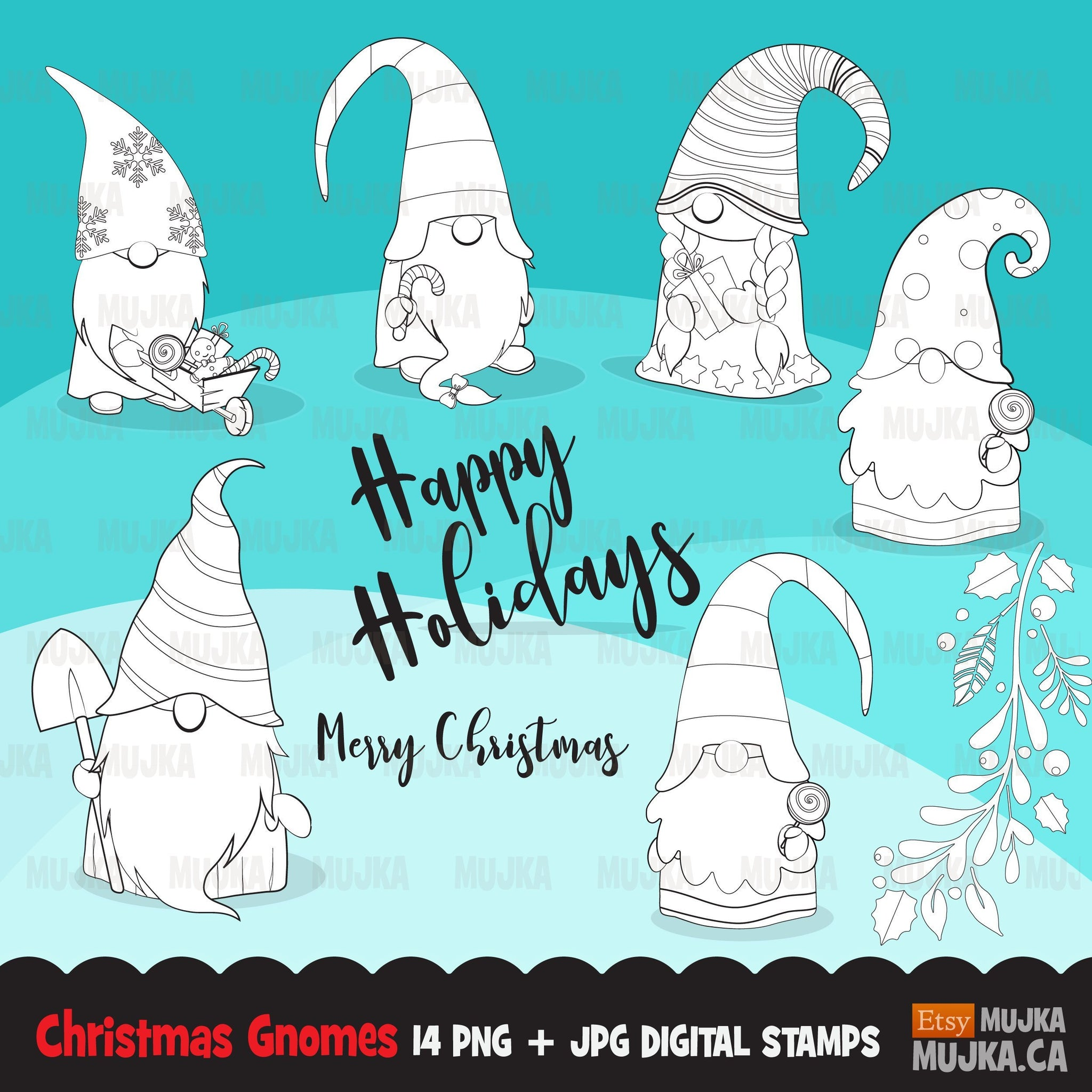 Christmas gnomes Digital stamps