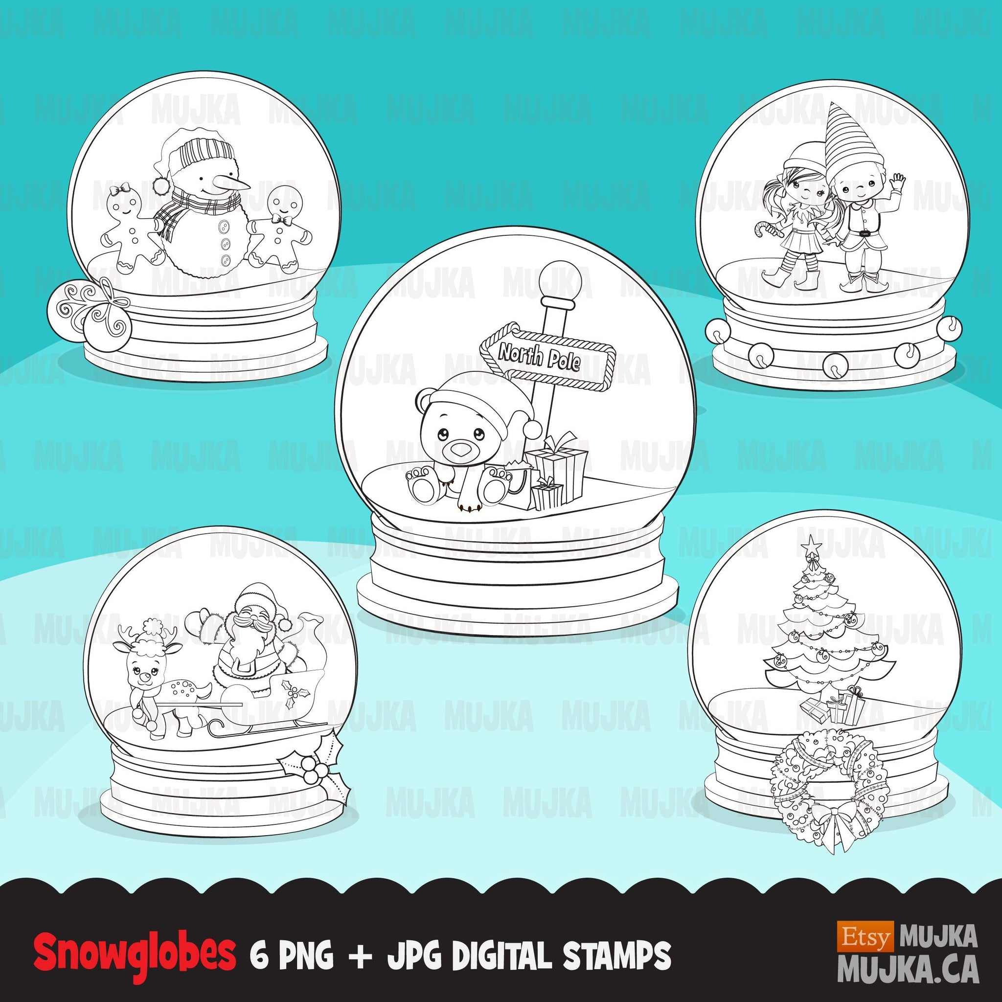 Christmas snow globe digital stamps winter