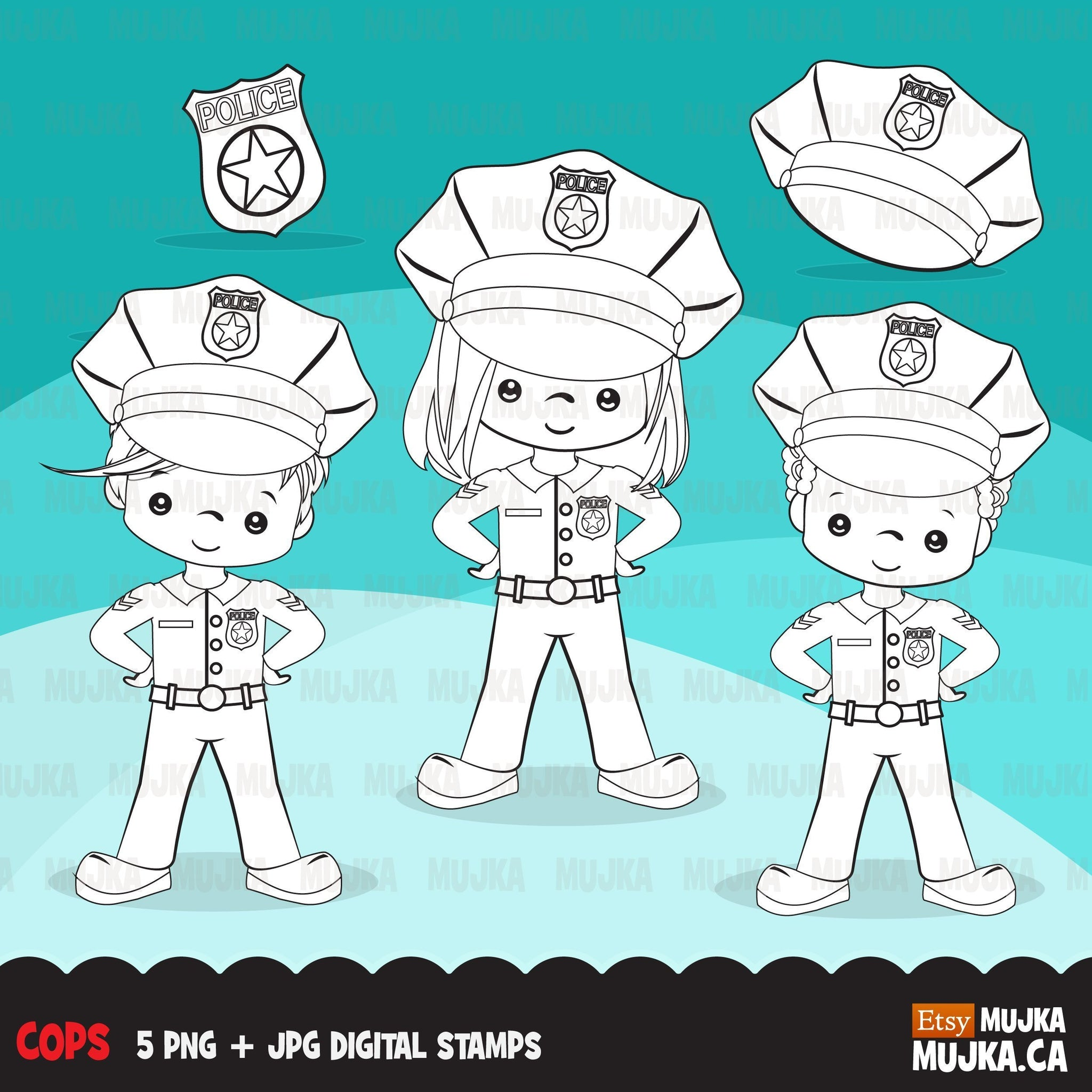 Cops, police officer Digital Stamps, Girl and Boy
