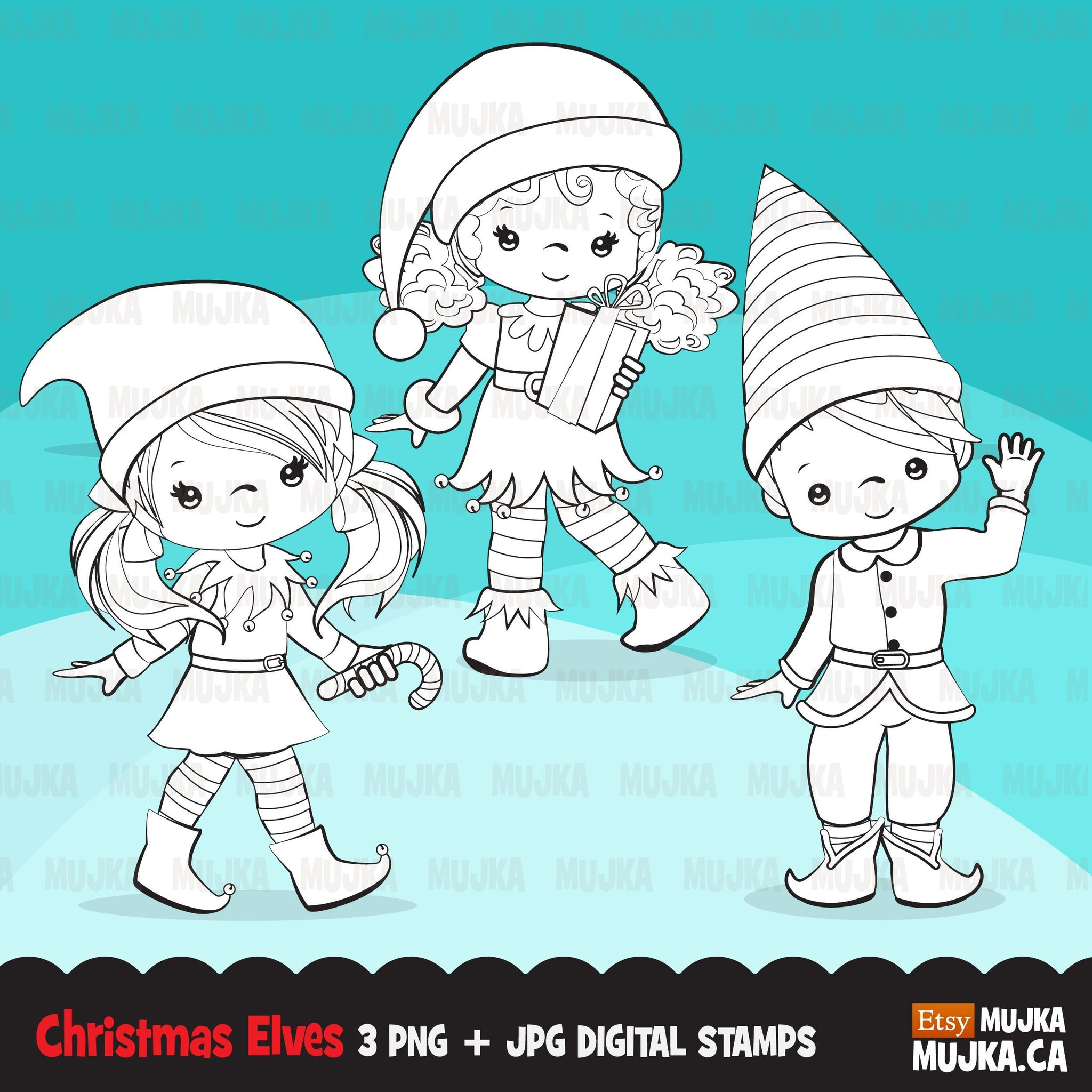 Christmas Elf Digital stamps, Girl and boy