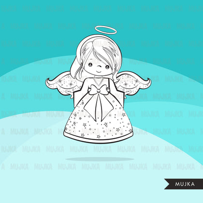Free Christmas angels digital stamps, girl