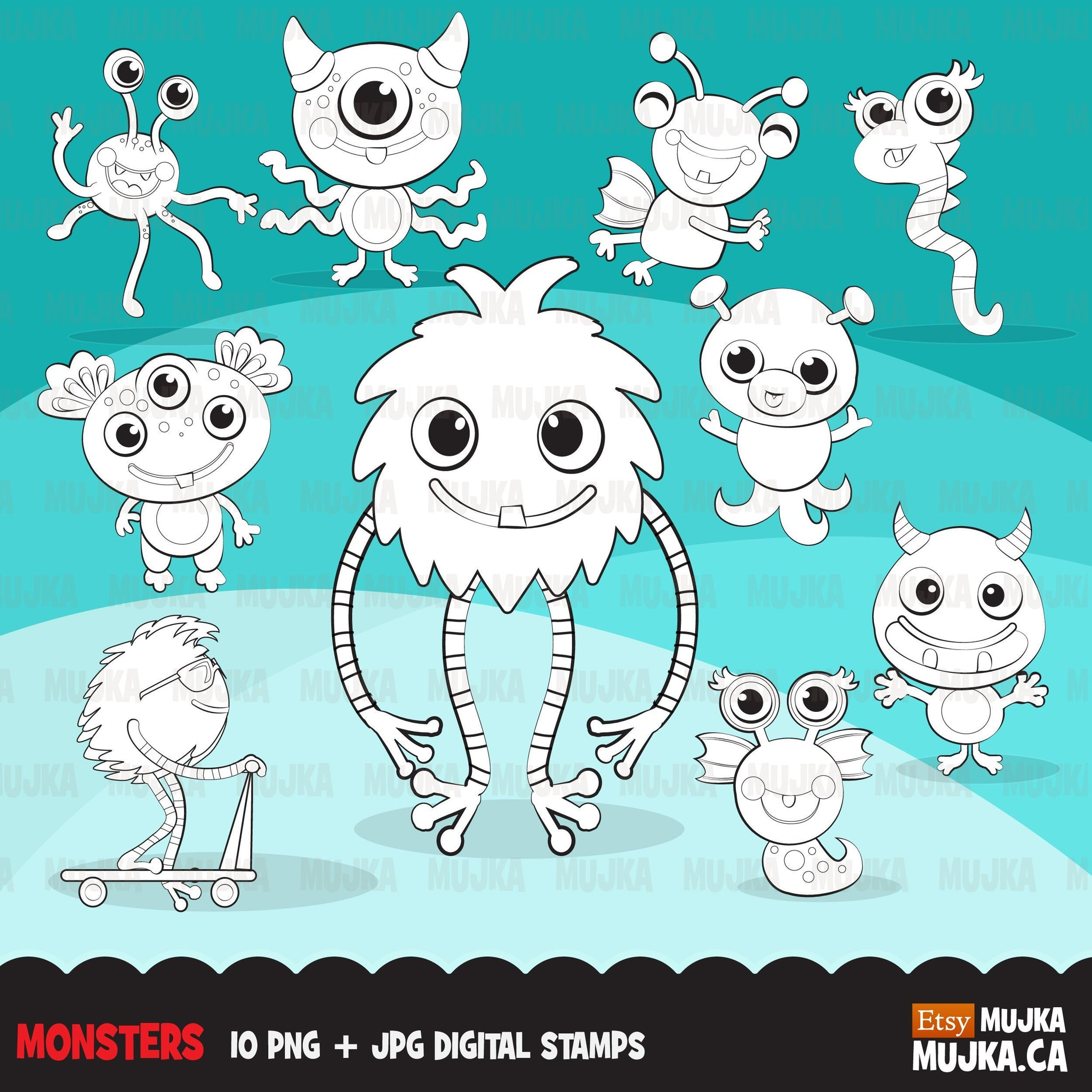Monsters Digital Stamps