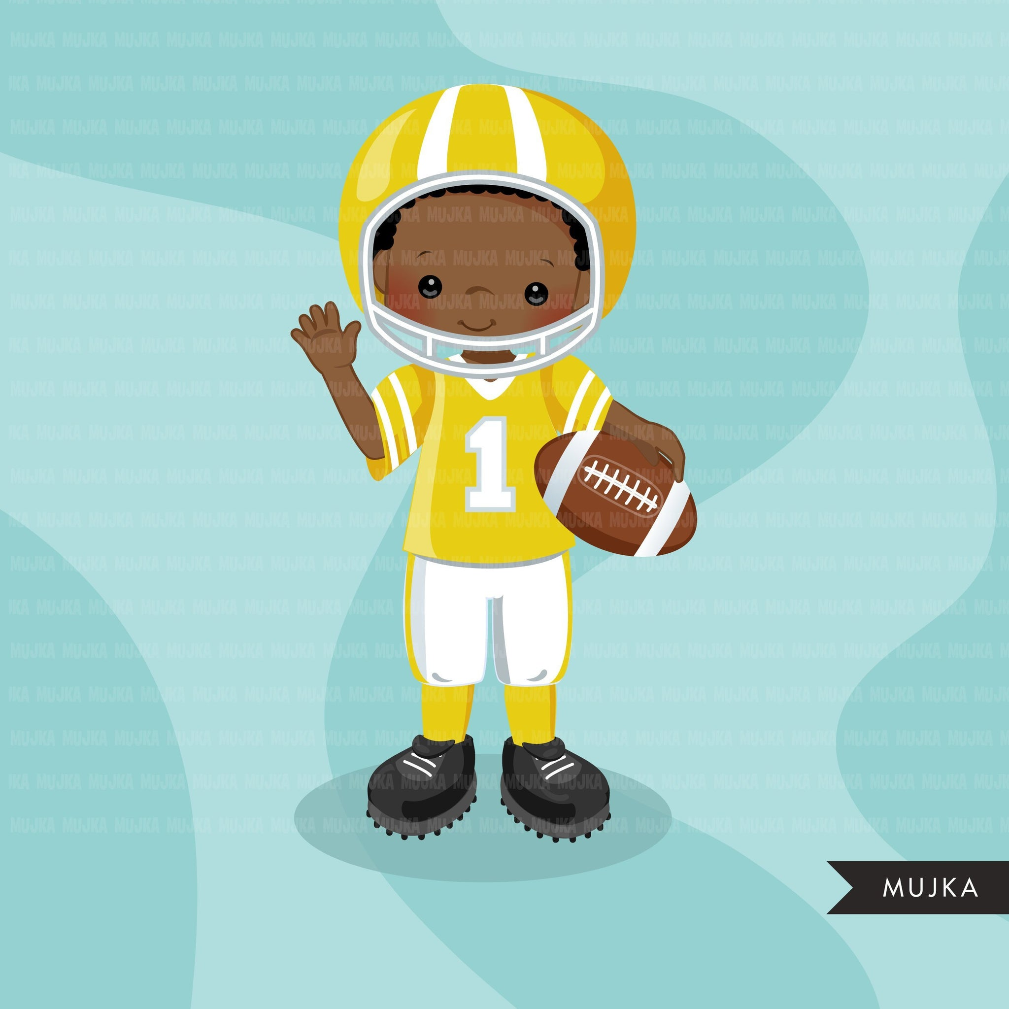 Football clipart, boy in yellow jersey
