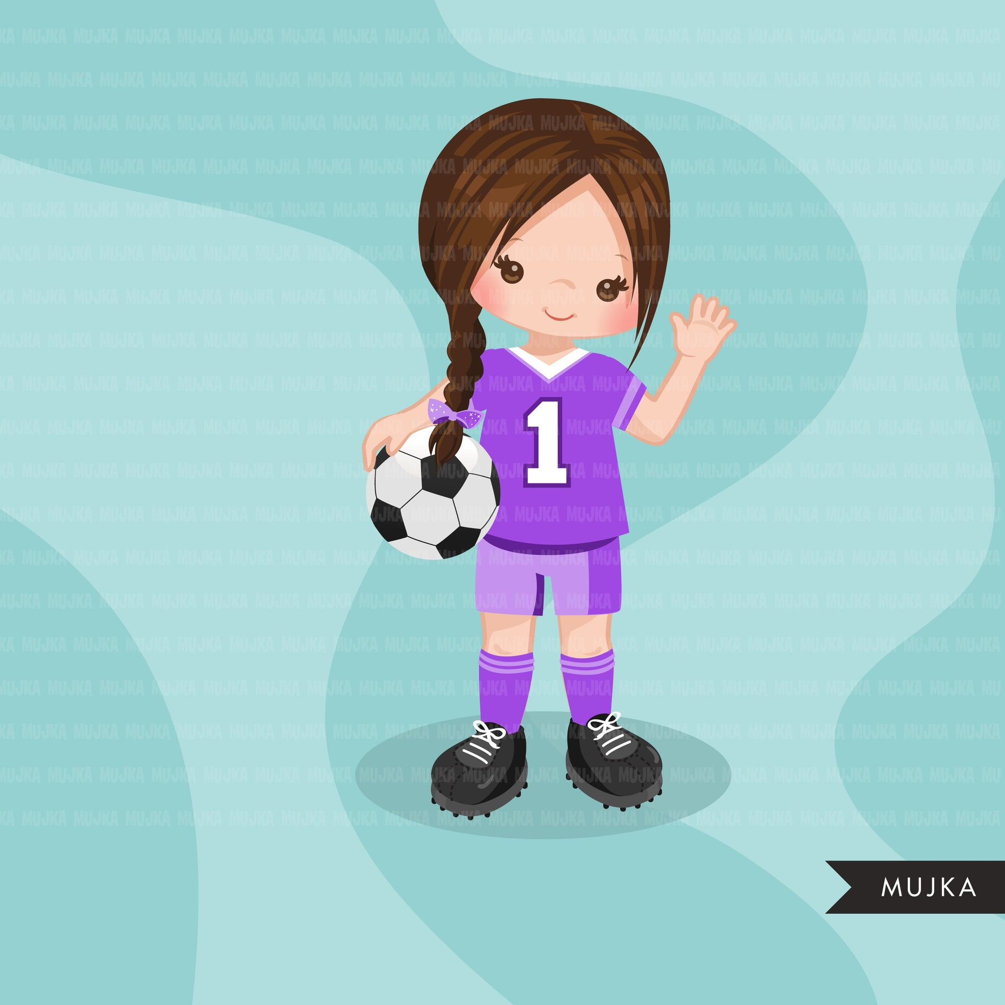 Soccer clipart, girl in purple jersey