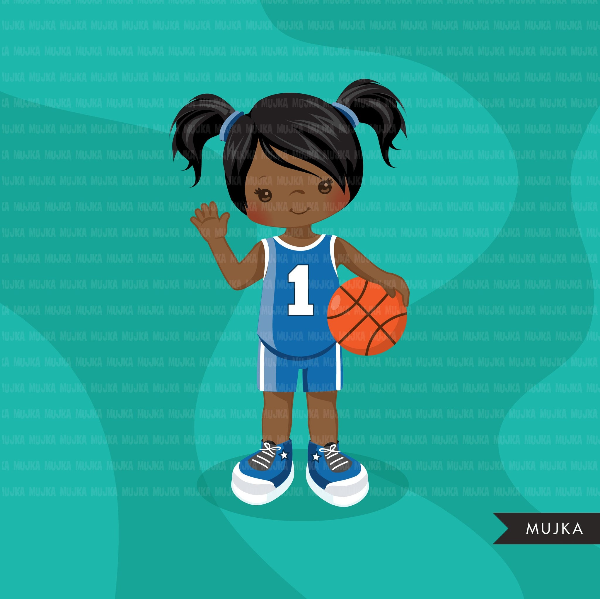 Basketball Girl blue jersey clipart