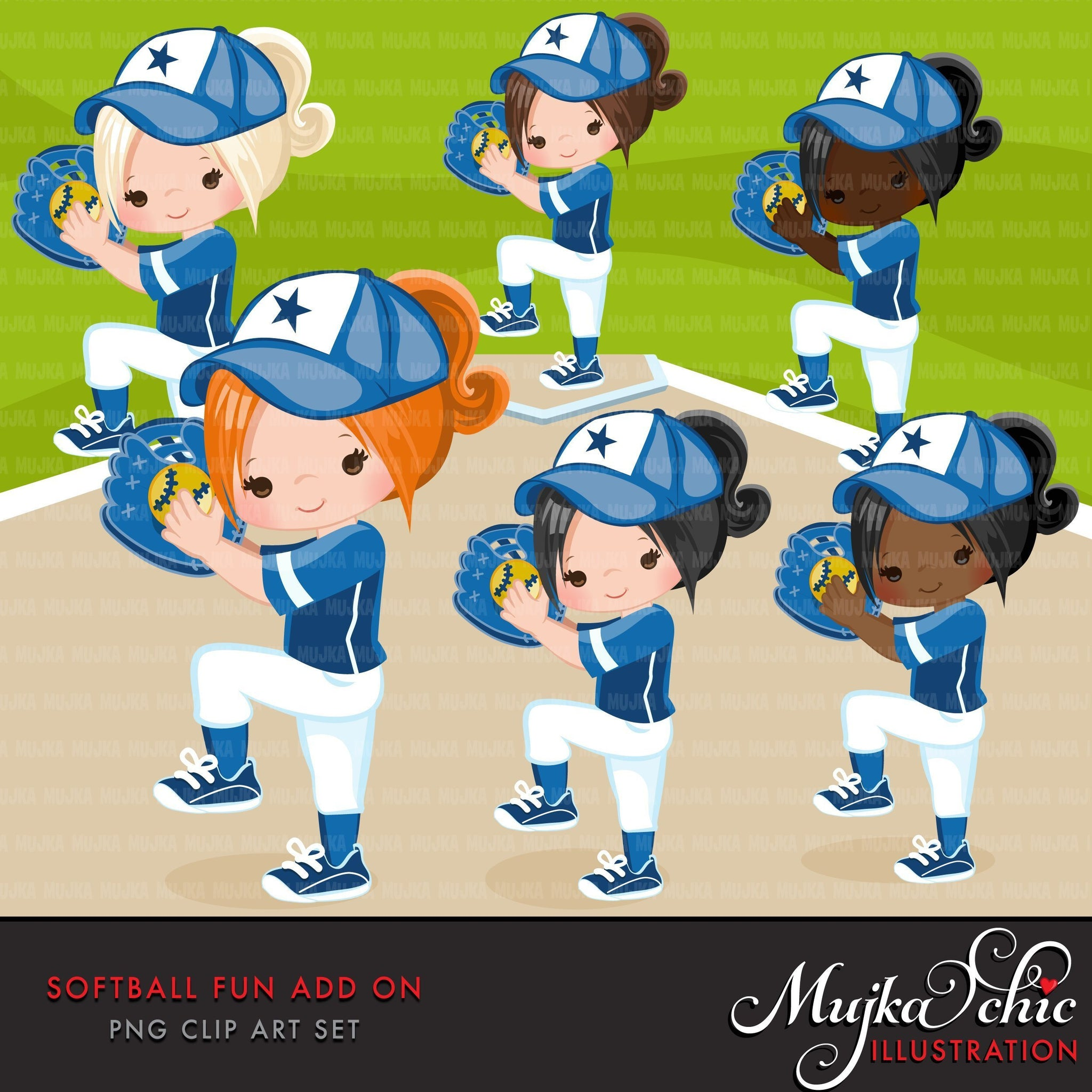 Softball Clipart ADD ON, girl in blue jersey