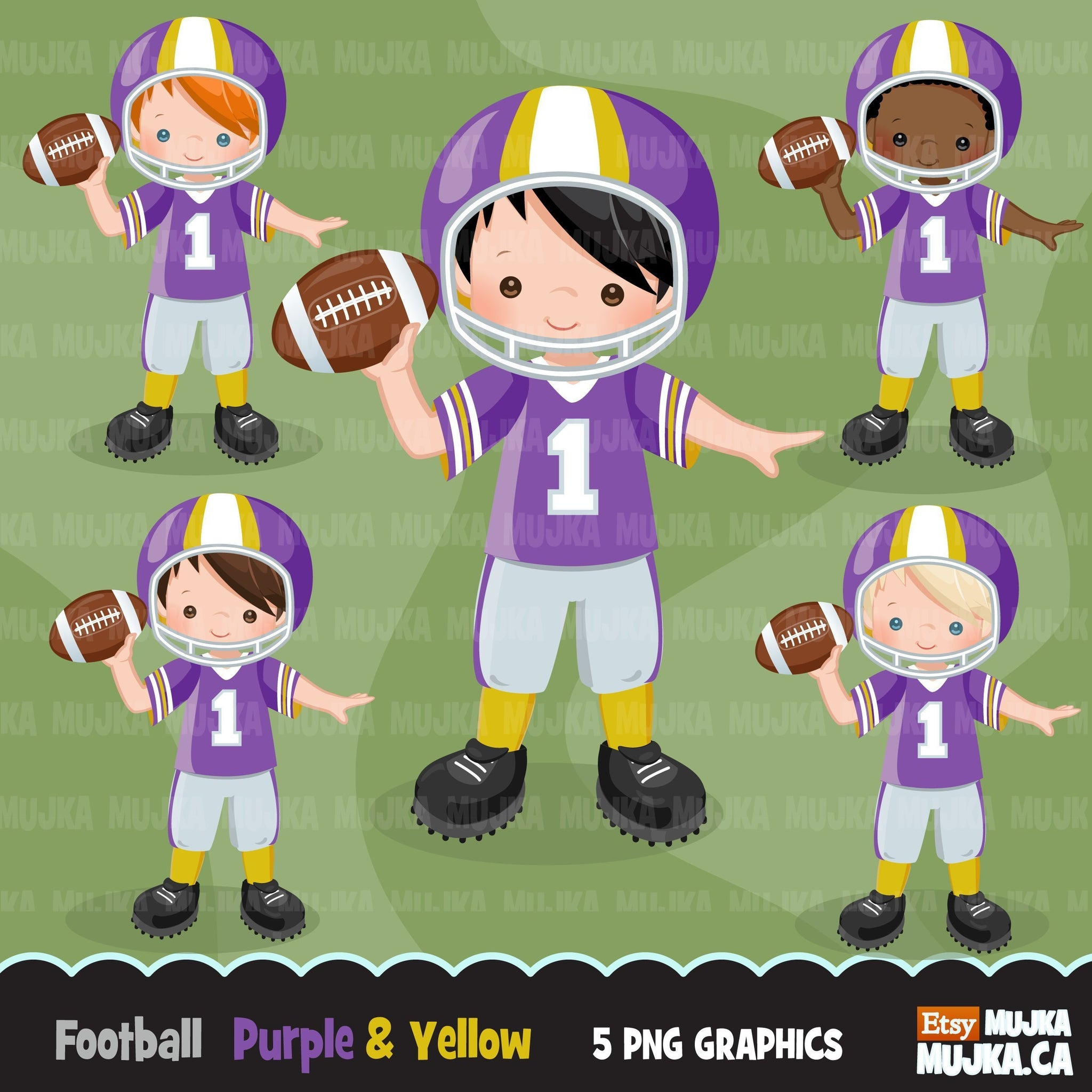Football clipart, boy in purple and yellow jersey throwing