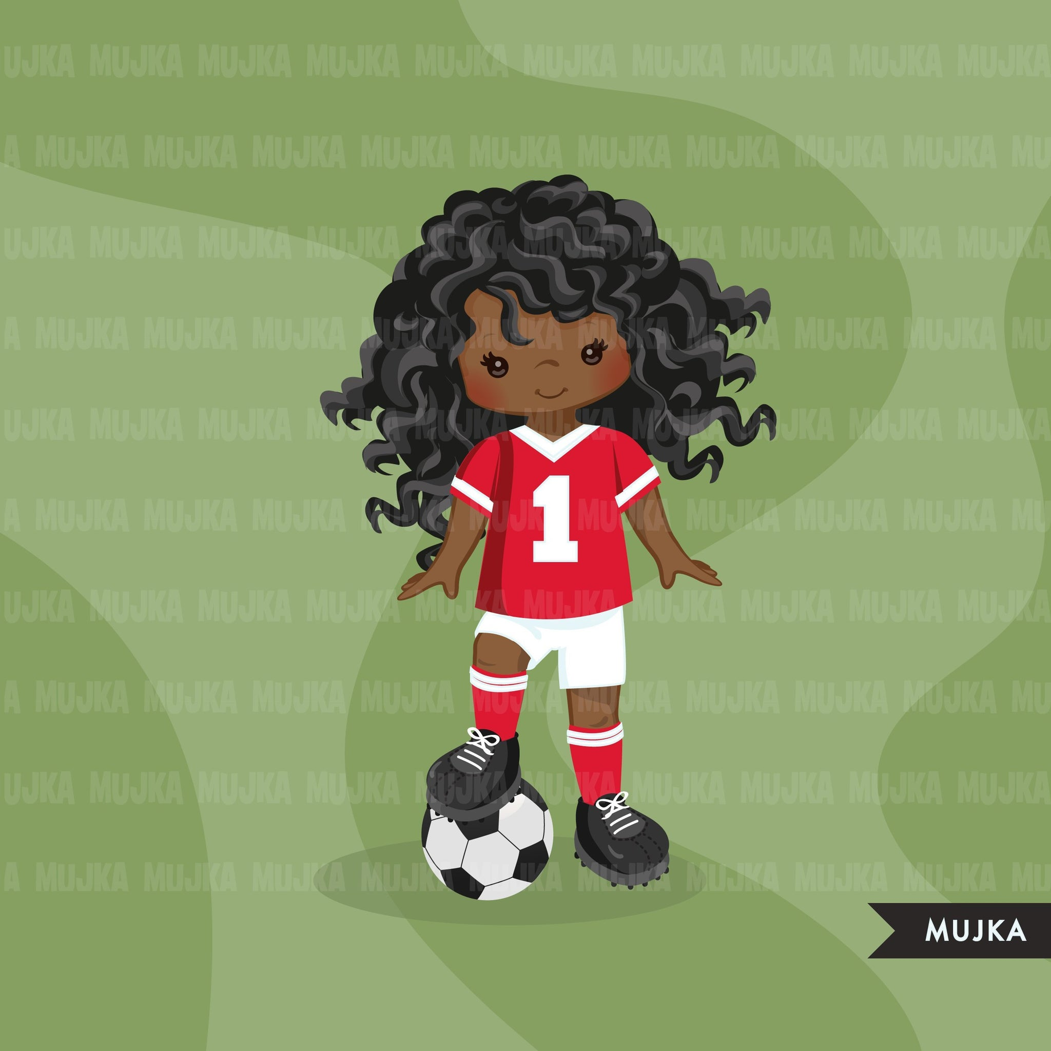 Soccer clipart, girl in red jersey