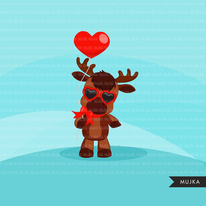 Valentines Day  Moose Clipart, animals