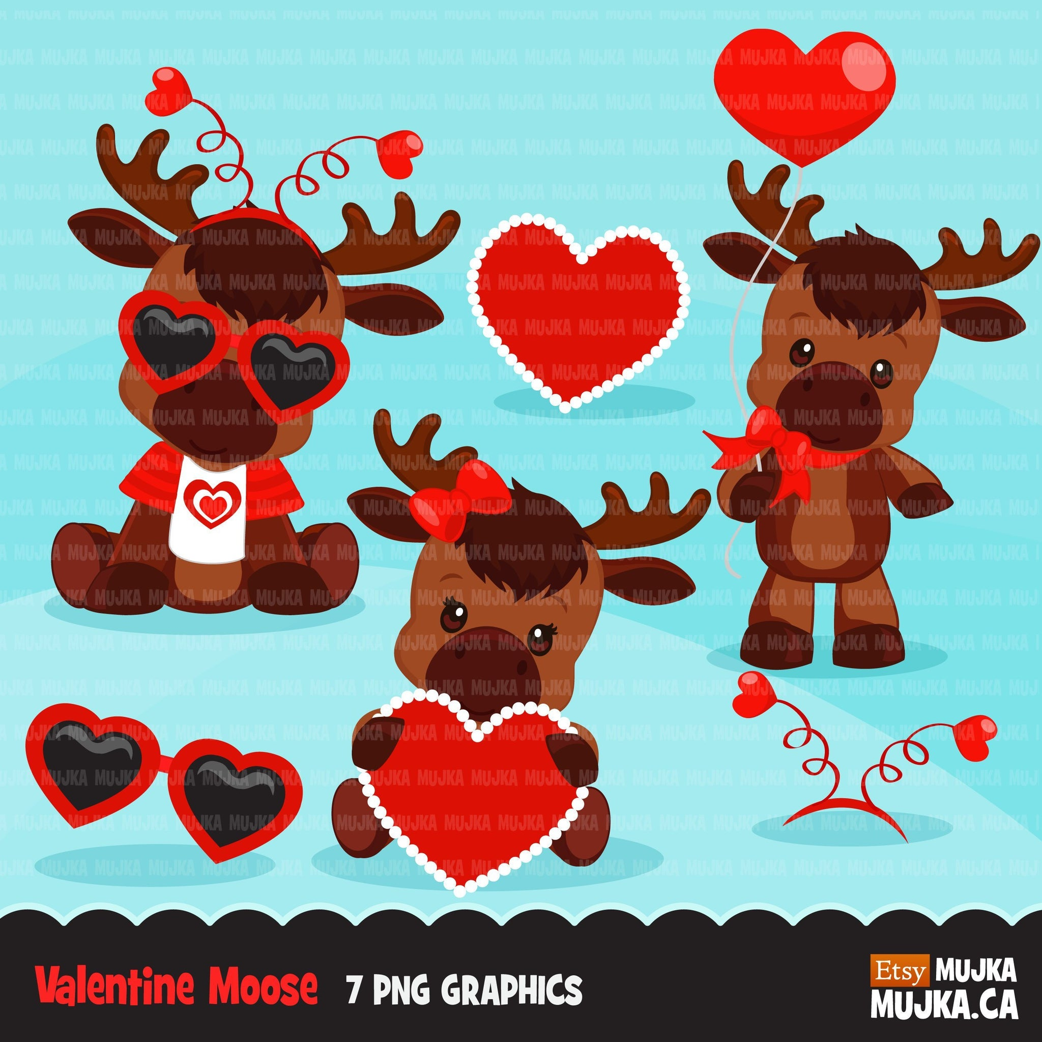 Free Valentines Day  Moose Clipart, animals