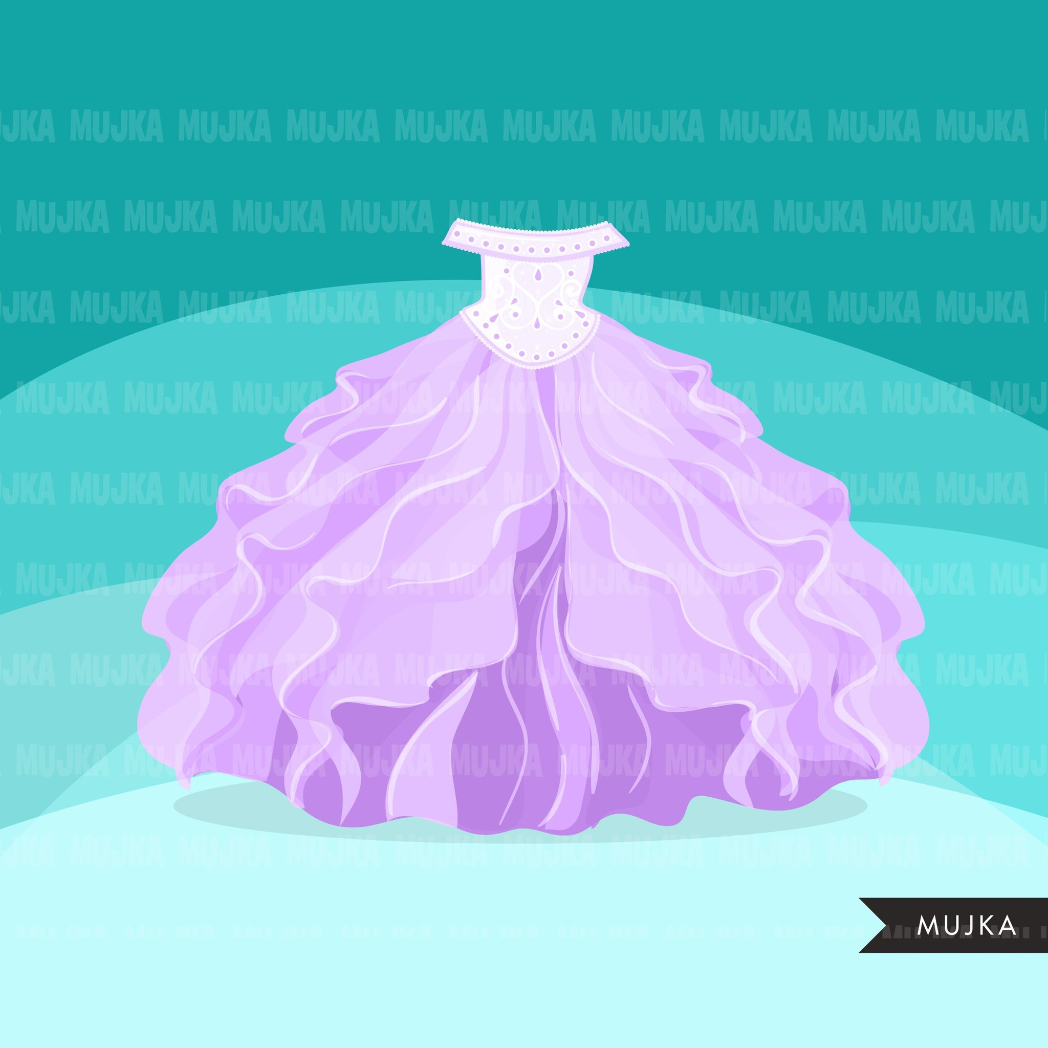 Quinceanera dress Clipart, Sweet 15th Birthday, dresses for girls