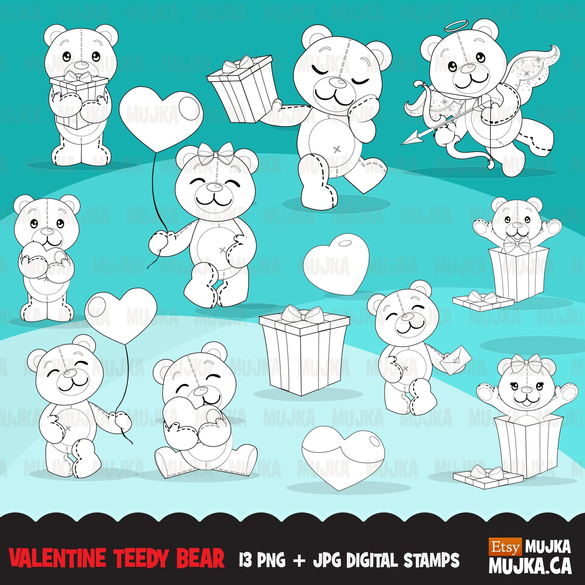 Valentine Teddy bear Digital Stamps, Valentines day stuffed animal