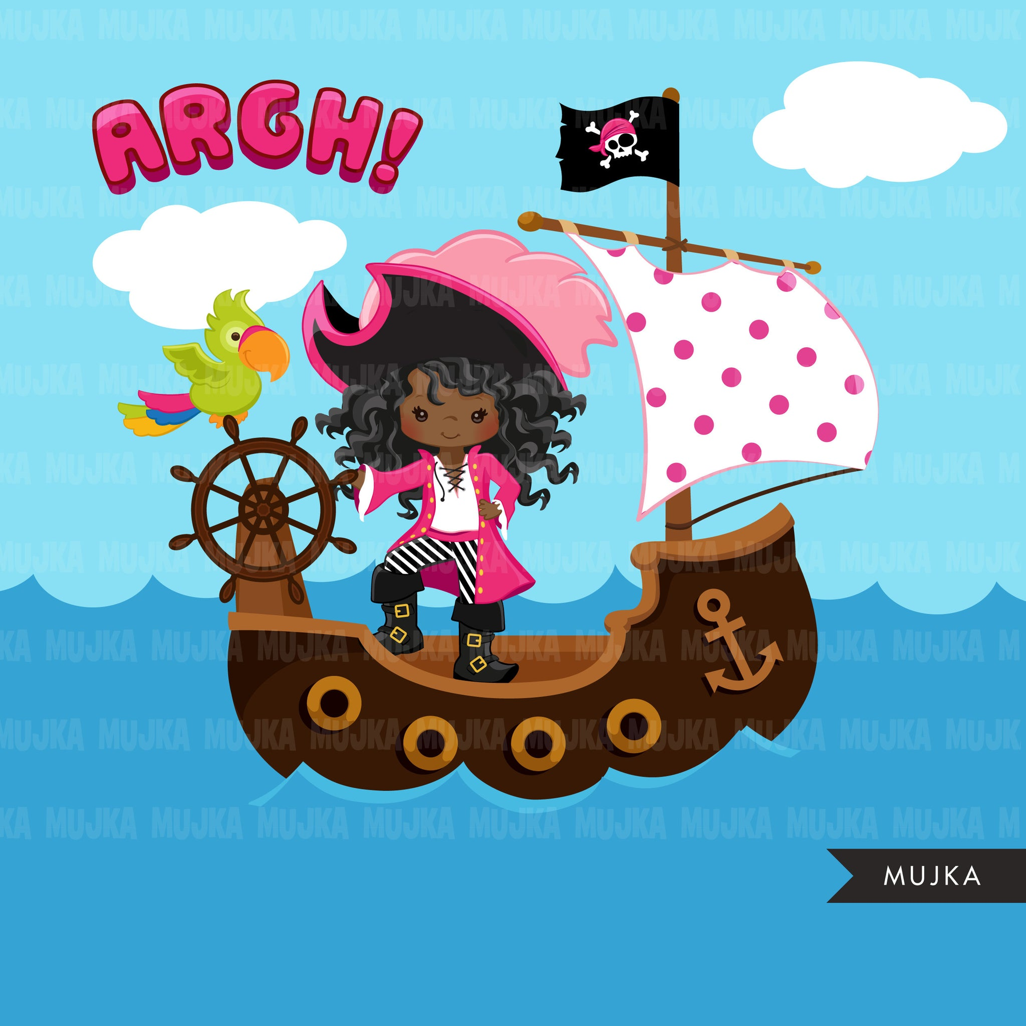 Girl Pirates Clipart, dark skin African American afro pirates