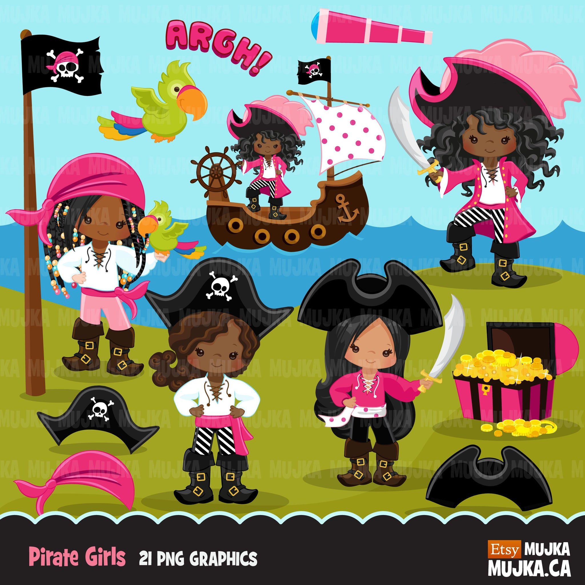 Girl Pirates Clipart Dark Skin African American Afro Pirates Mujka Cliparts