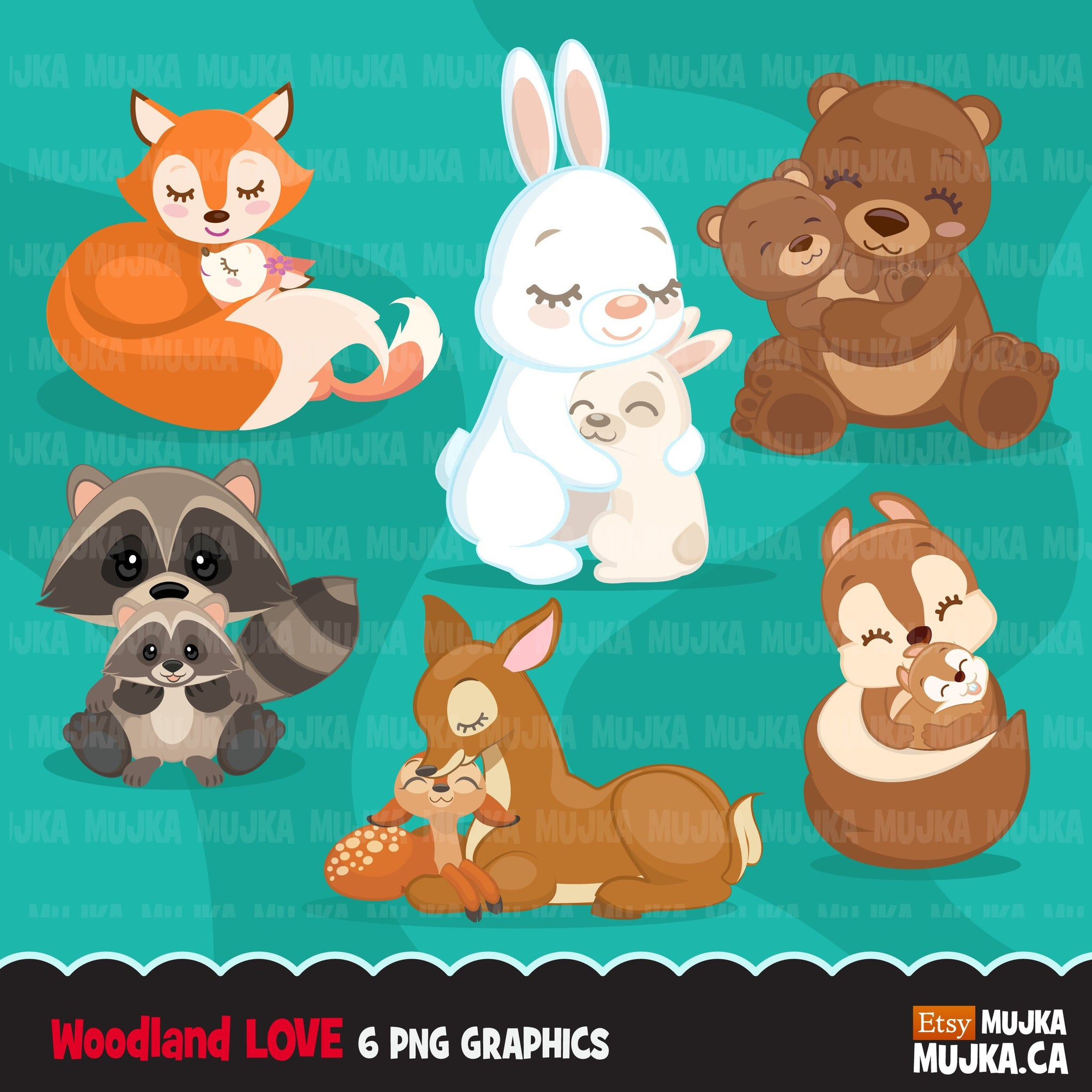 Woodland Animals love Clipart, Mother's Day