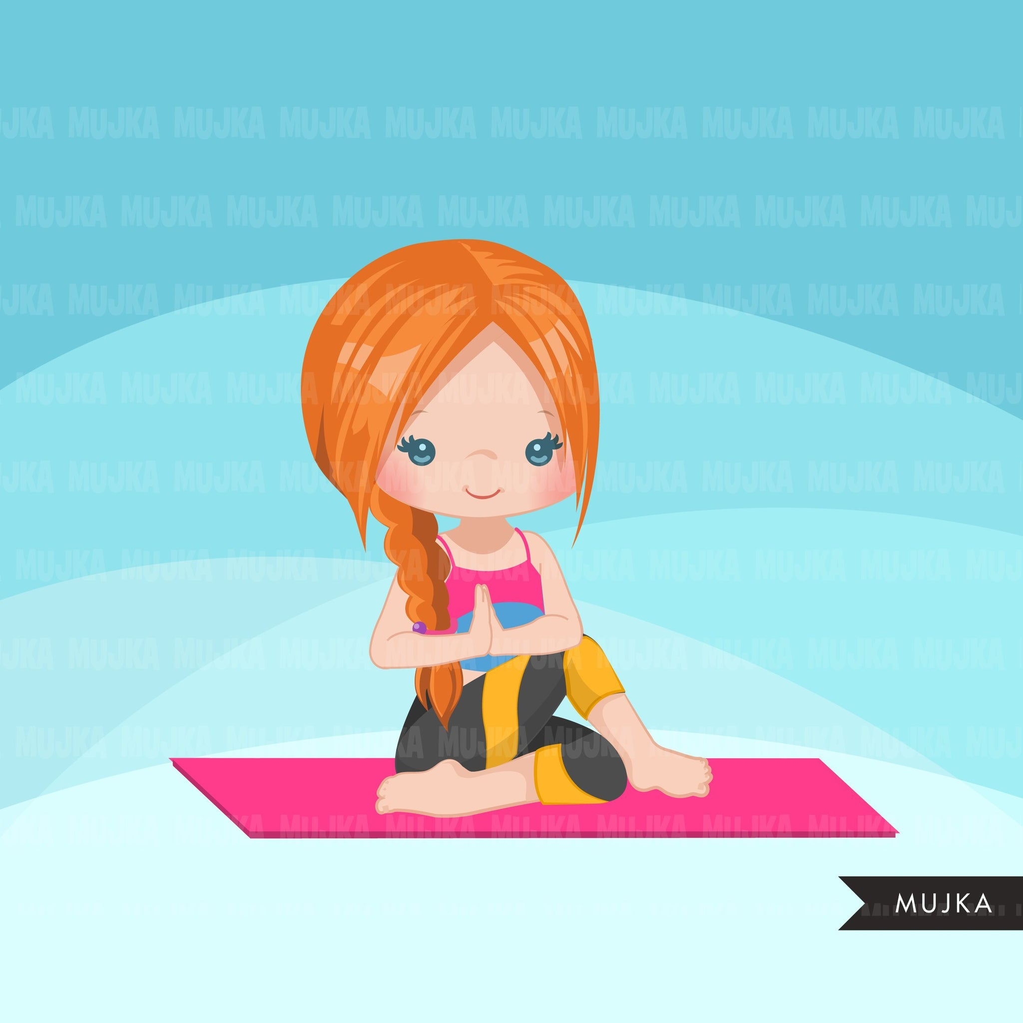 Yoga clipart, girl with braids