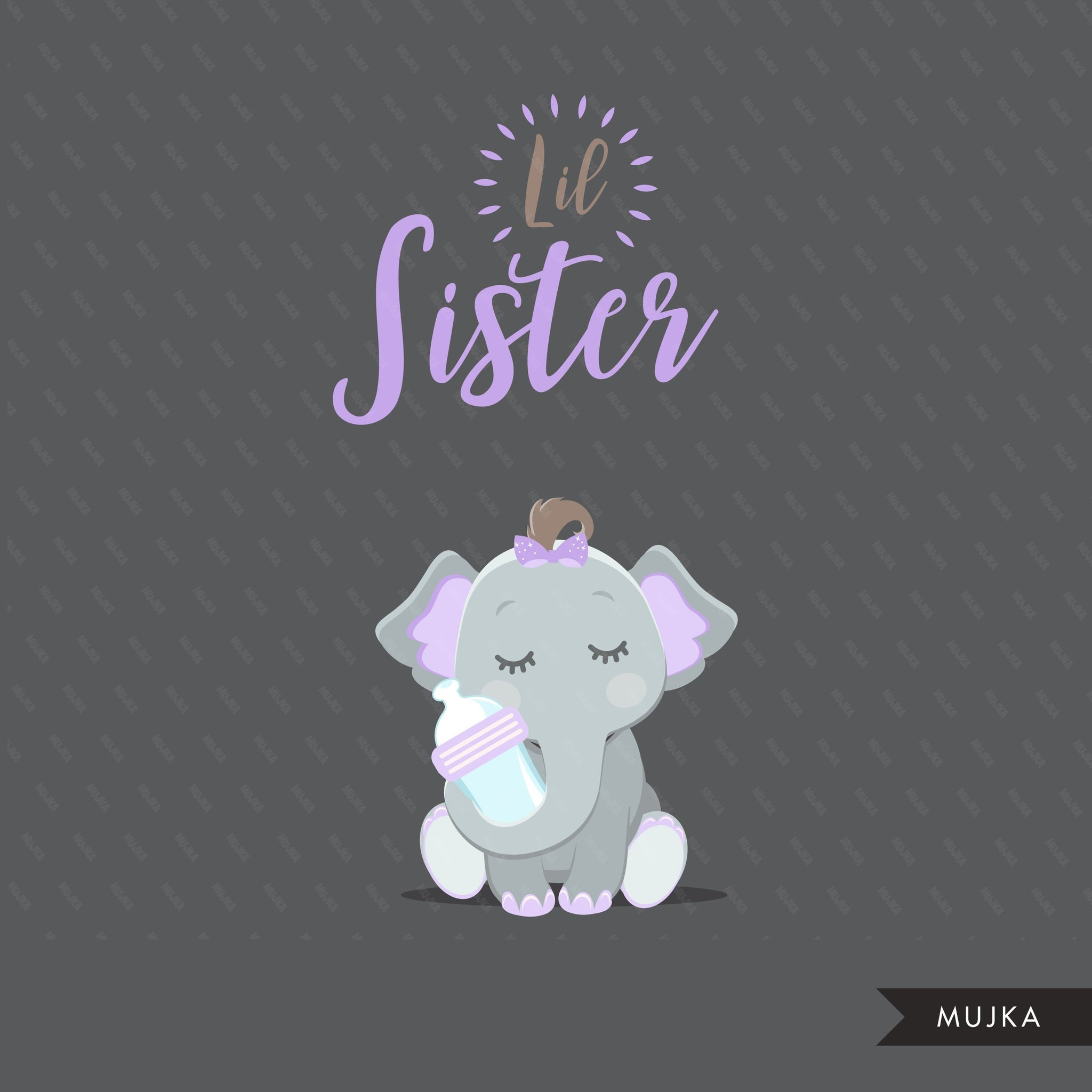 Purple elephant baby shower clipart