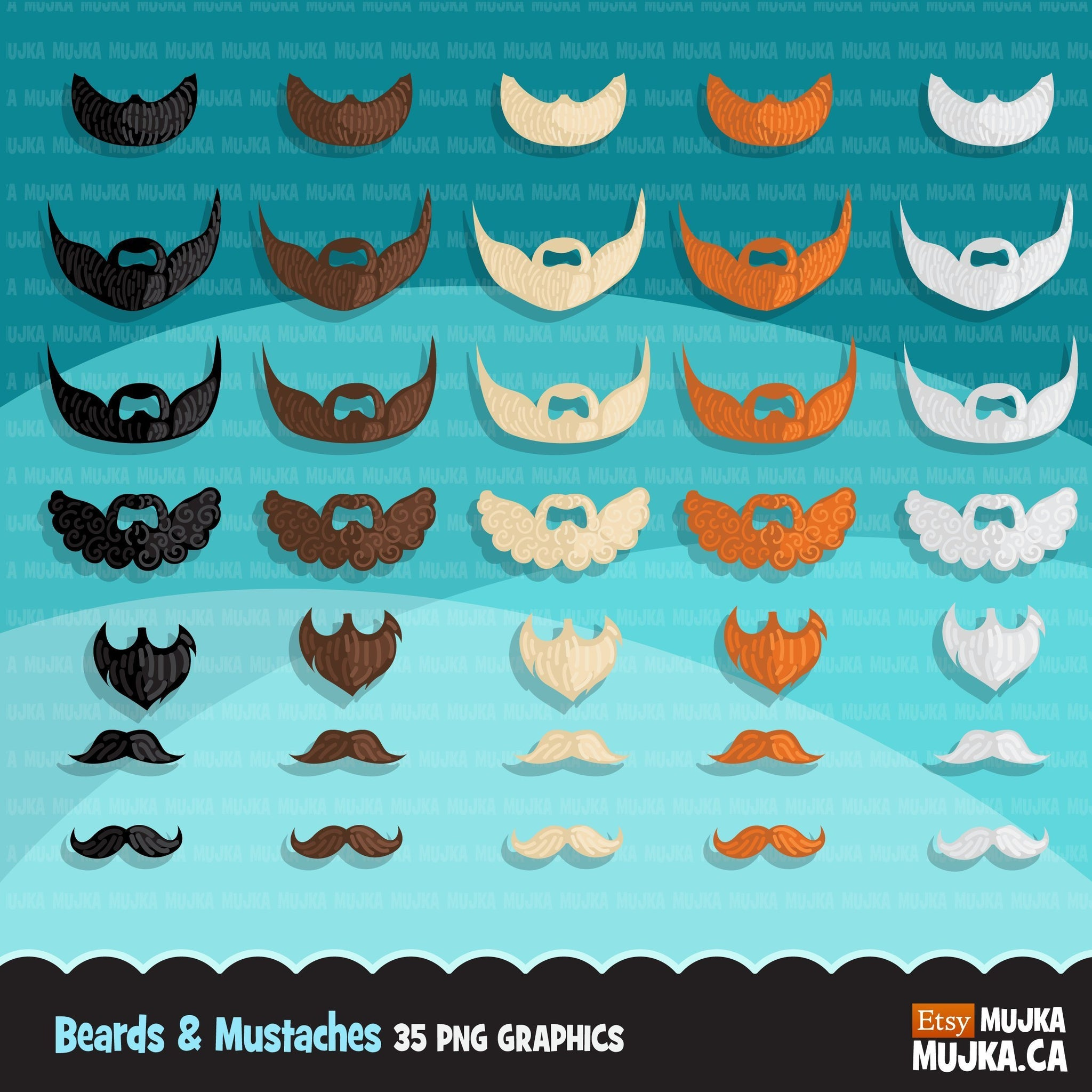 Beard & Mustache Boy clipart Father's day graphics