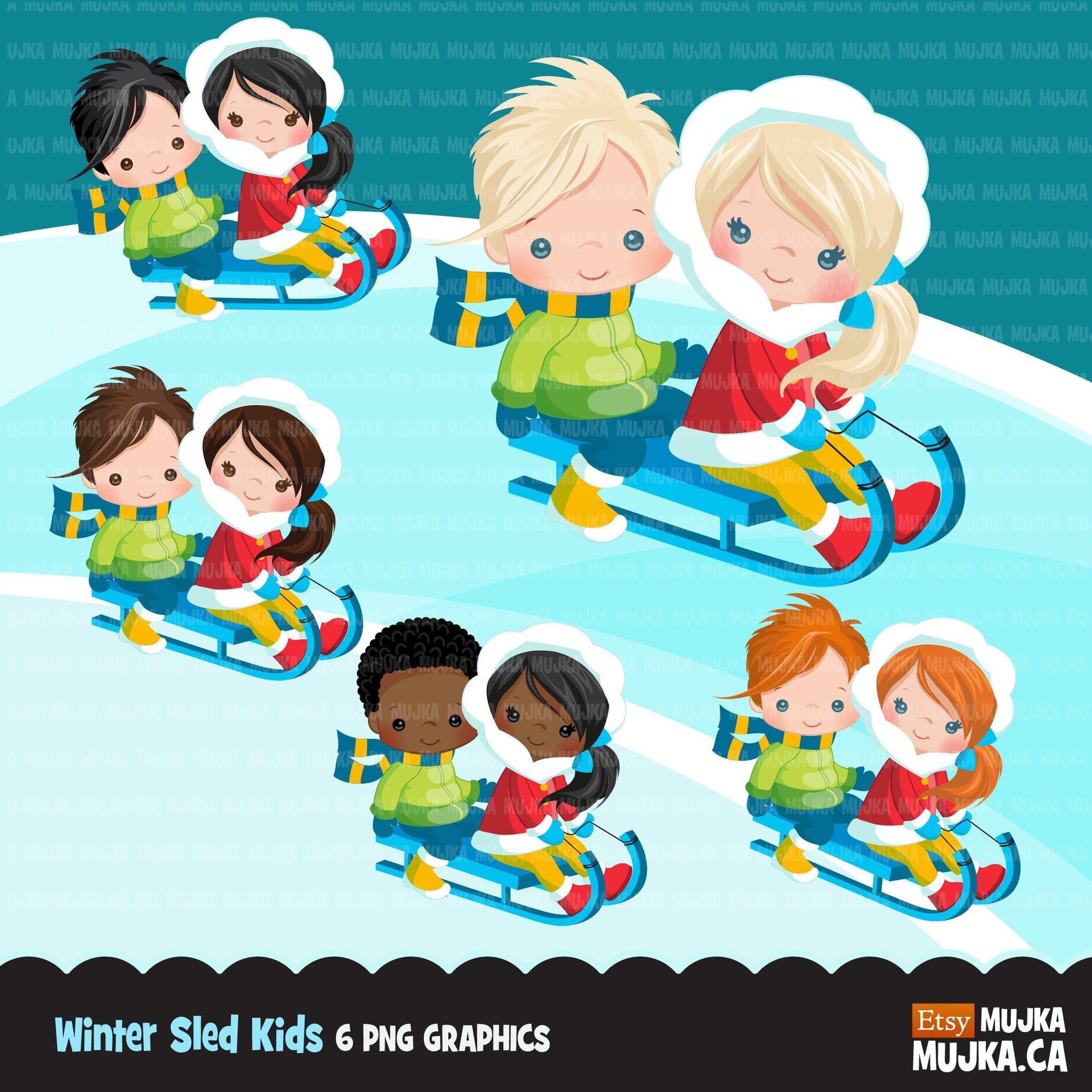 Winter sled snow boys and girls clipart