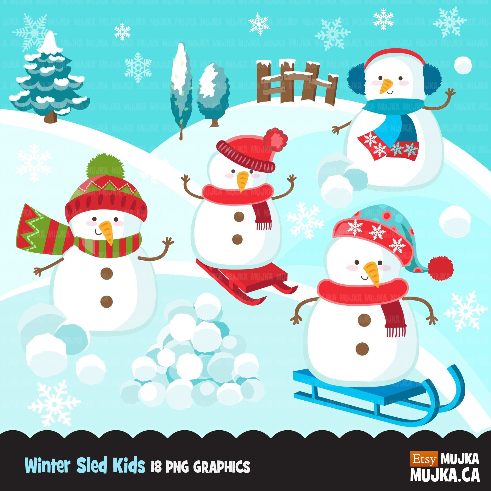 Winter sled snowman clipart