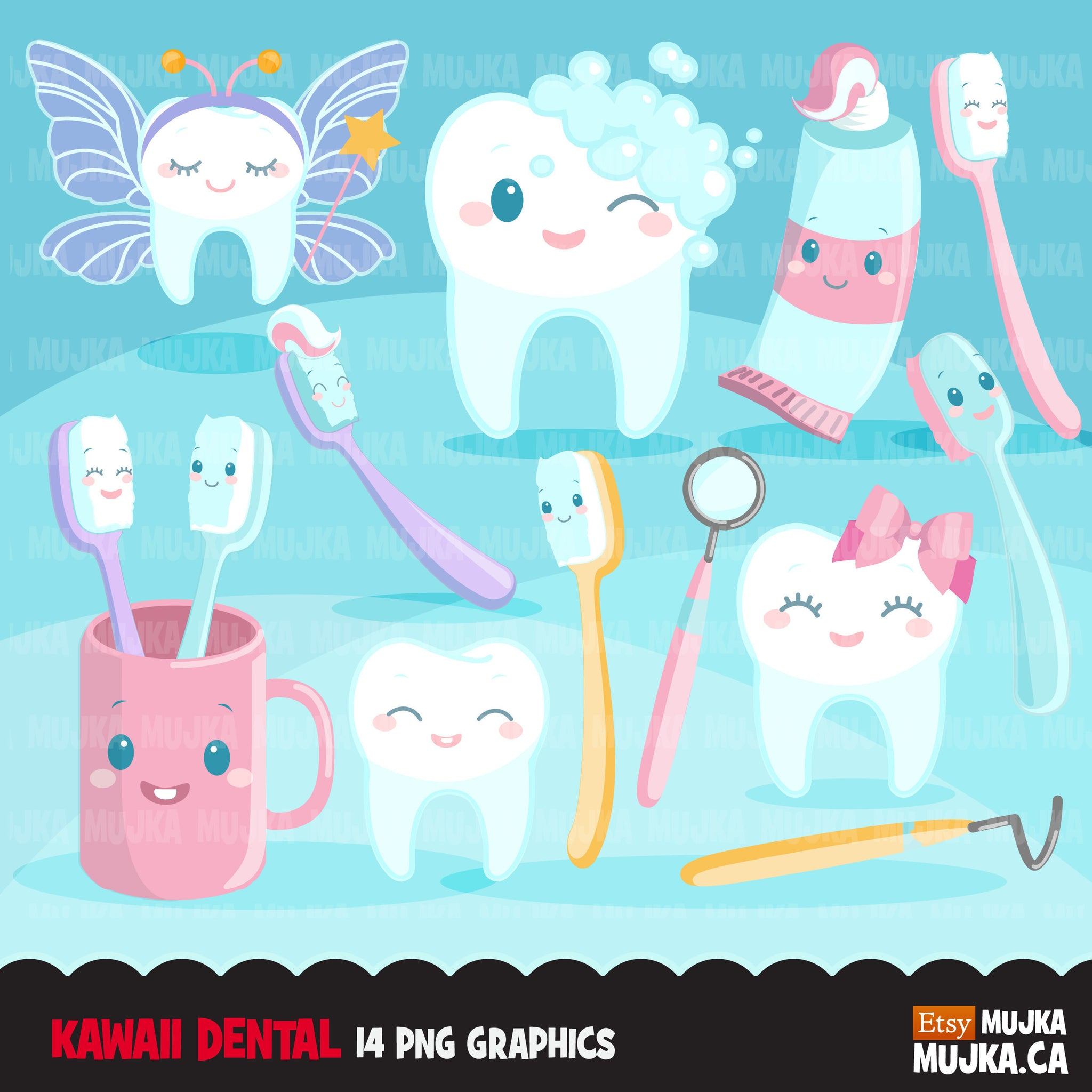 Kawaii tooth Dental Clipart