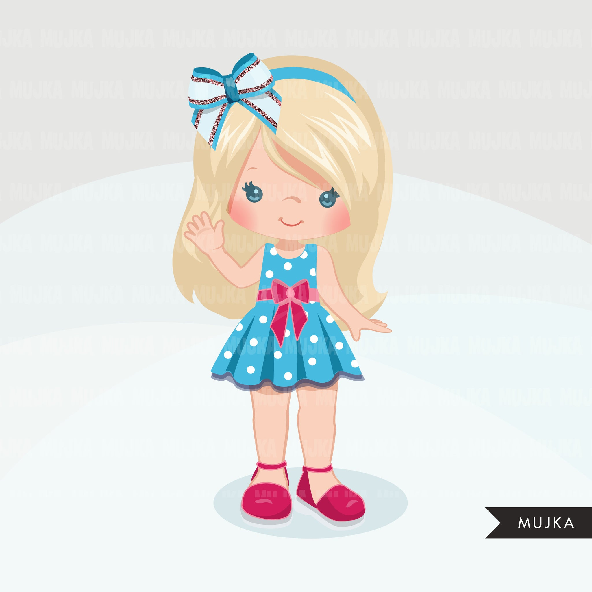 Glitter Hair bows and ribbons clipart