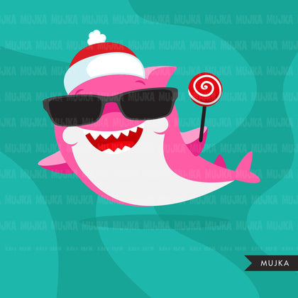 Shark clipart, animal christmas