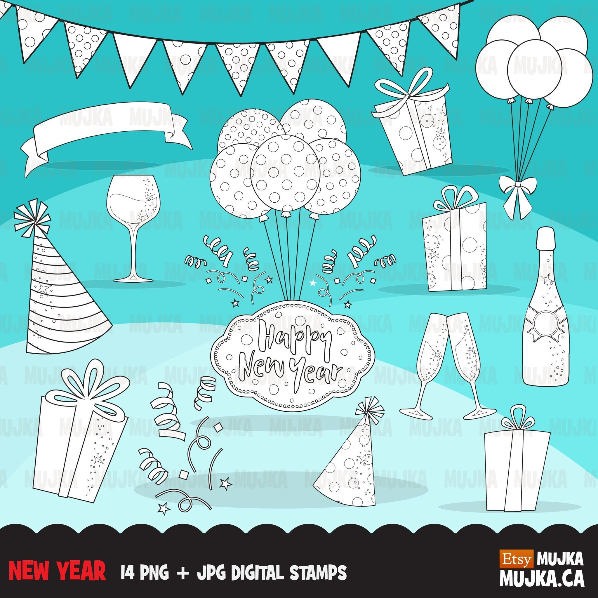 New year Digital Stamps, celebrating