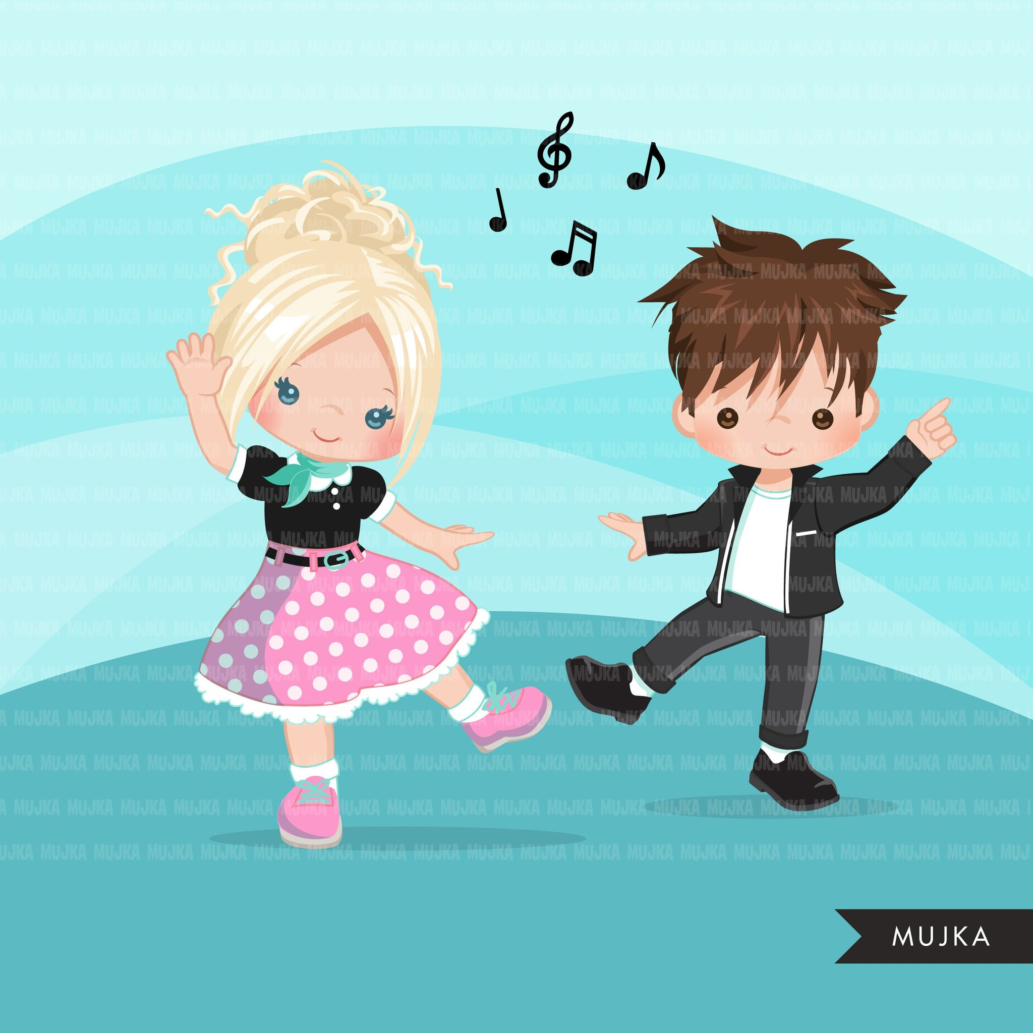 Girl Sock Hop Party Clipart