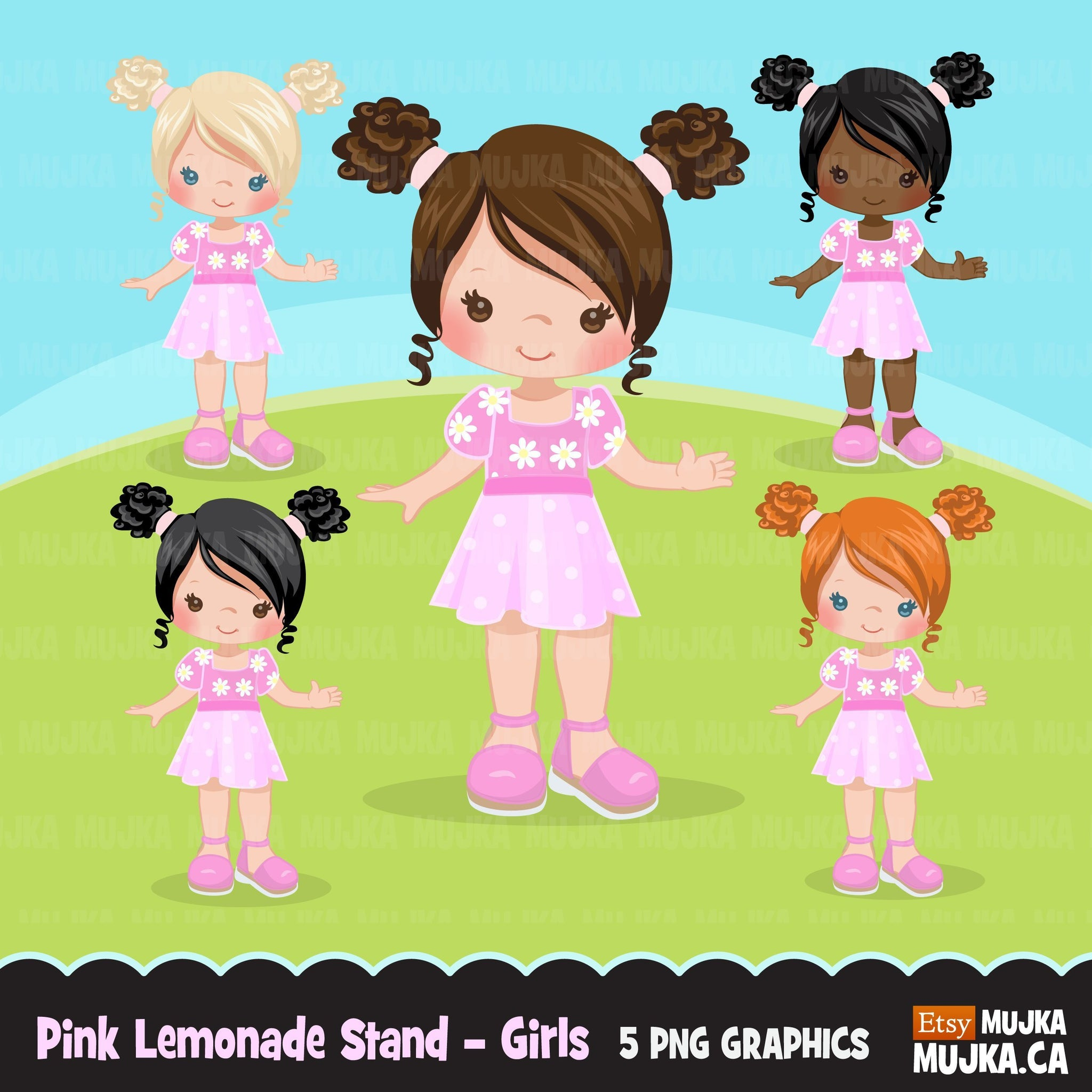 Pink Lemonade Stand Girls clipart summer